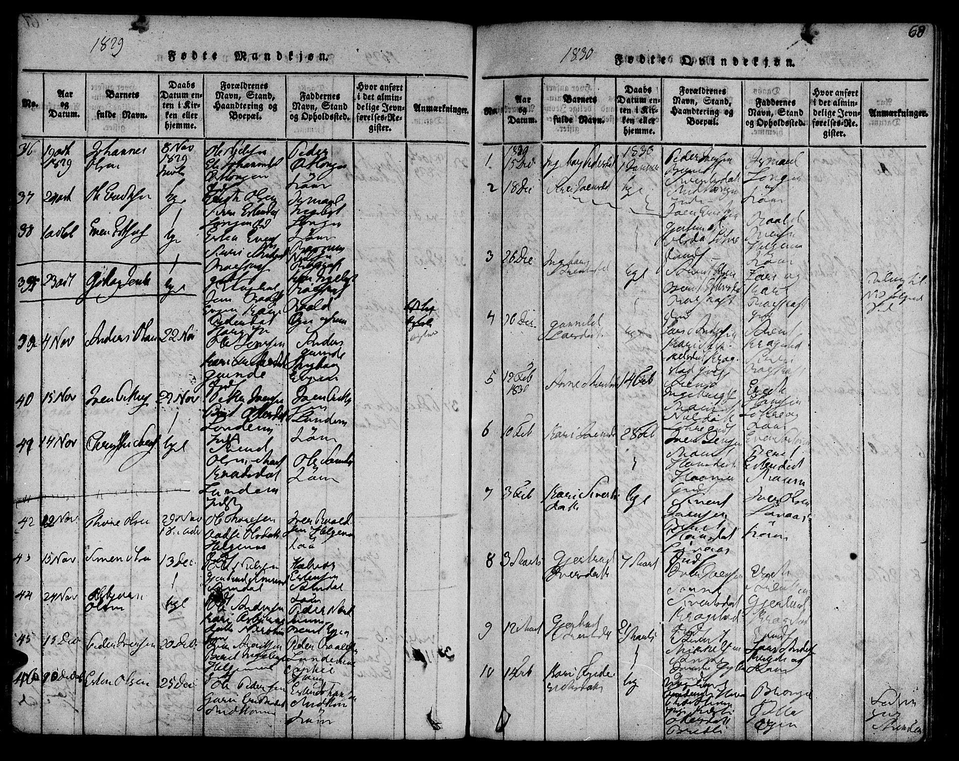 SAT, Ministerialprotokoller, klokkerbøker og fødselsregistre - Sør-Trøndelag, 692/L1102: Ministerialbok nr. 692A02, 1816-1842, s. 68