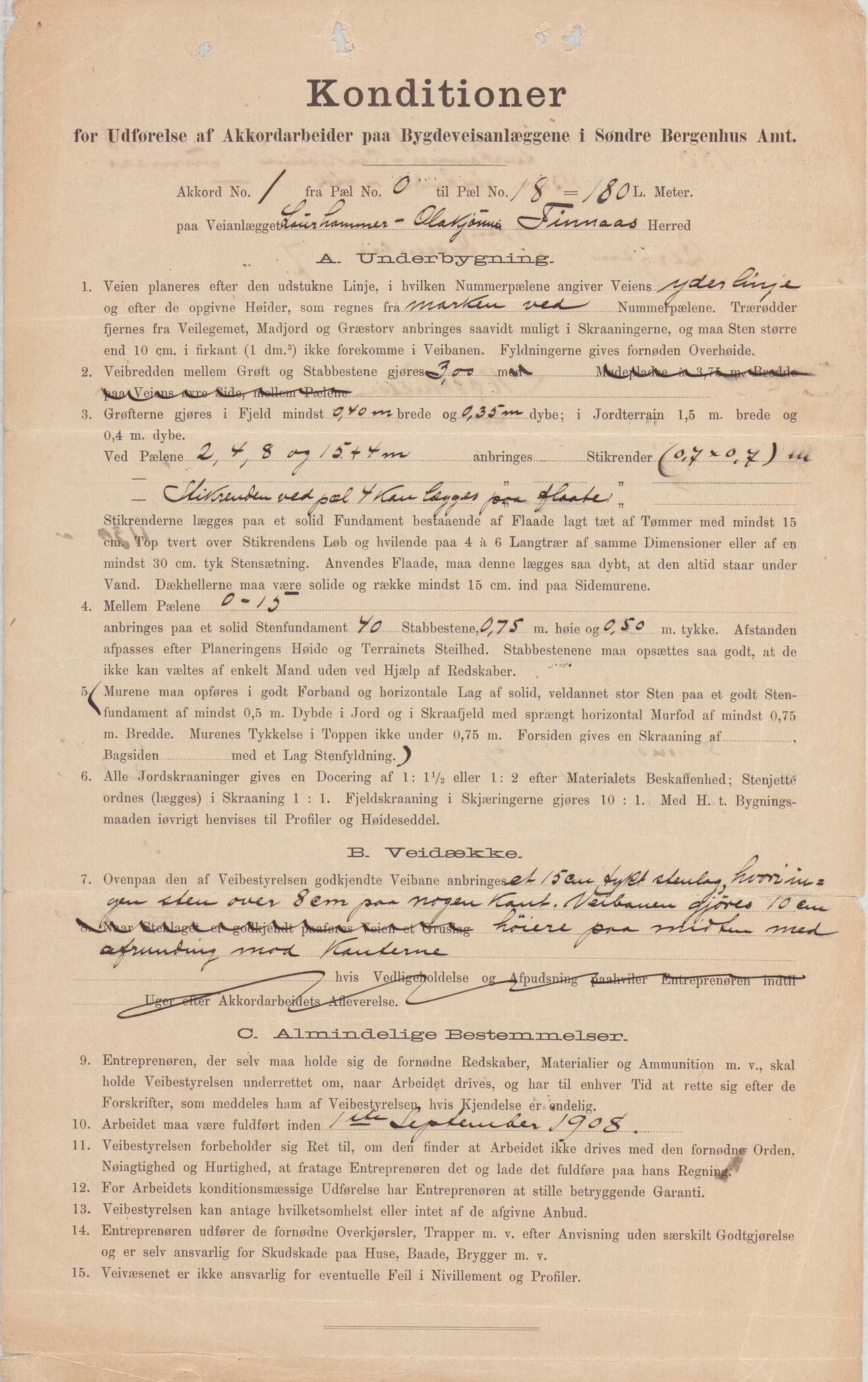 IKAH, Finnaas kommune. Formannskapet, E/Ea/L0001: Rekneskap for veganlegg, 1909-1911, s. 1