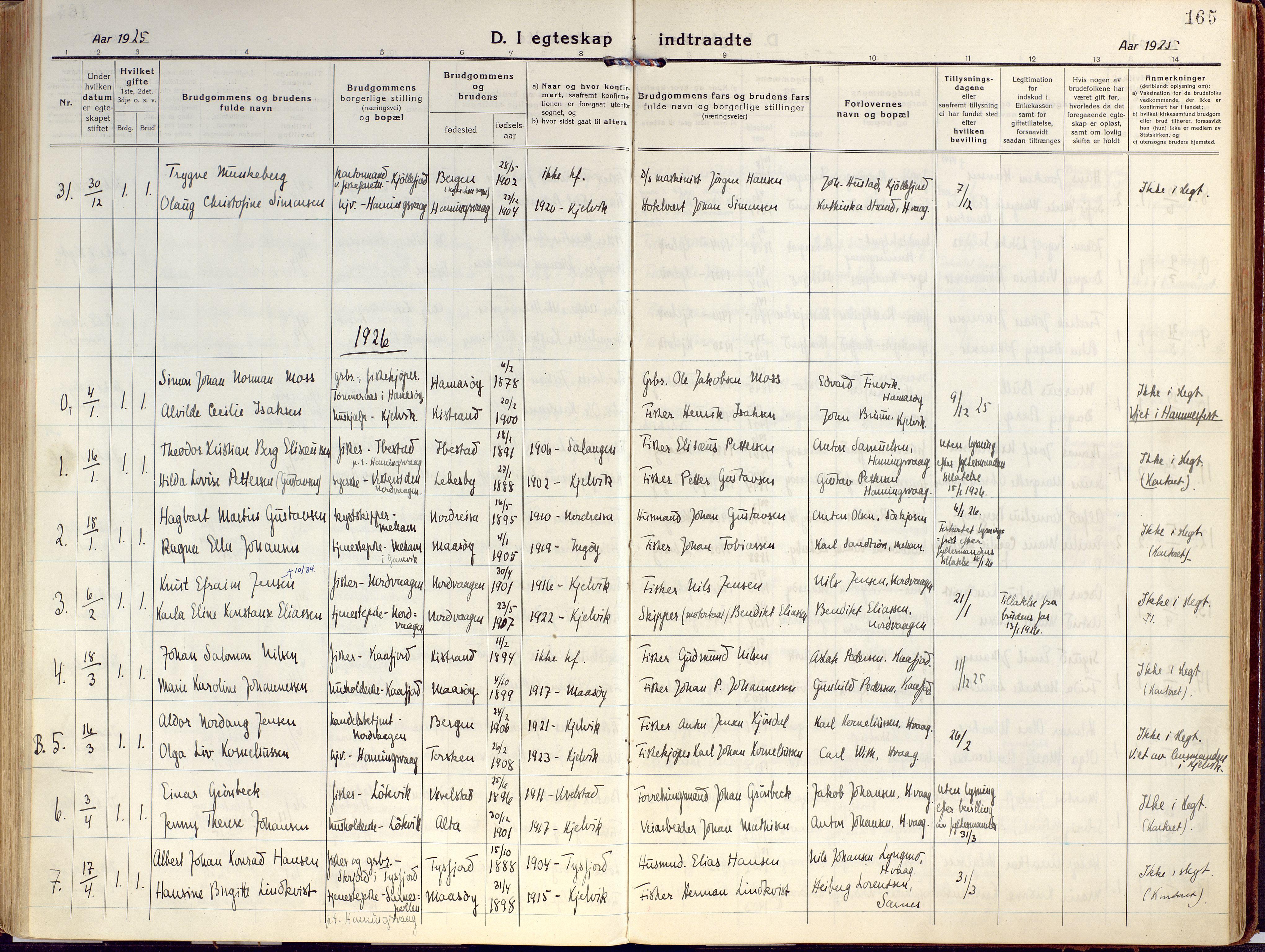 SATØ, Kjelvik/Nordkapp sokneprestkontor, H/Ha/L0002kirke: Ministerialbok nr. 2, 1920-1929, s. 165