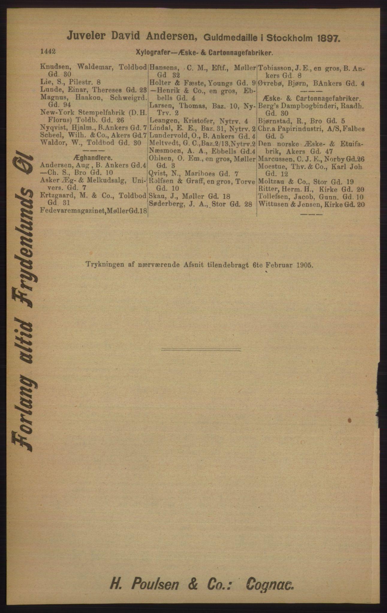 RA, Kristiania adressebok (publikasjon)*, 1905, s. 1442