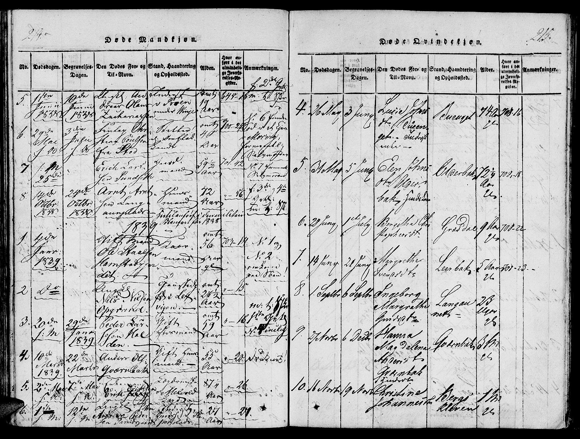 SAT, Ministerialprotokoller, klokkerbøker og fødselsregistre - Nord-Trøndelag, 733/L0322: Ministerialbok nr. 733A01, 1817-1842, s. 214-215