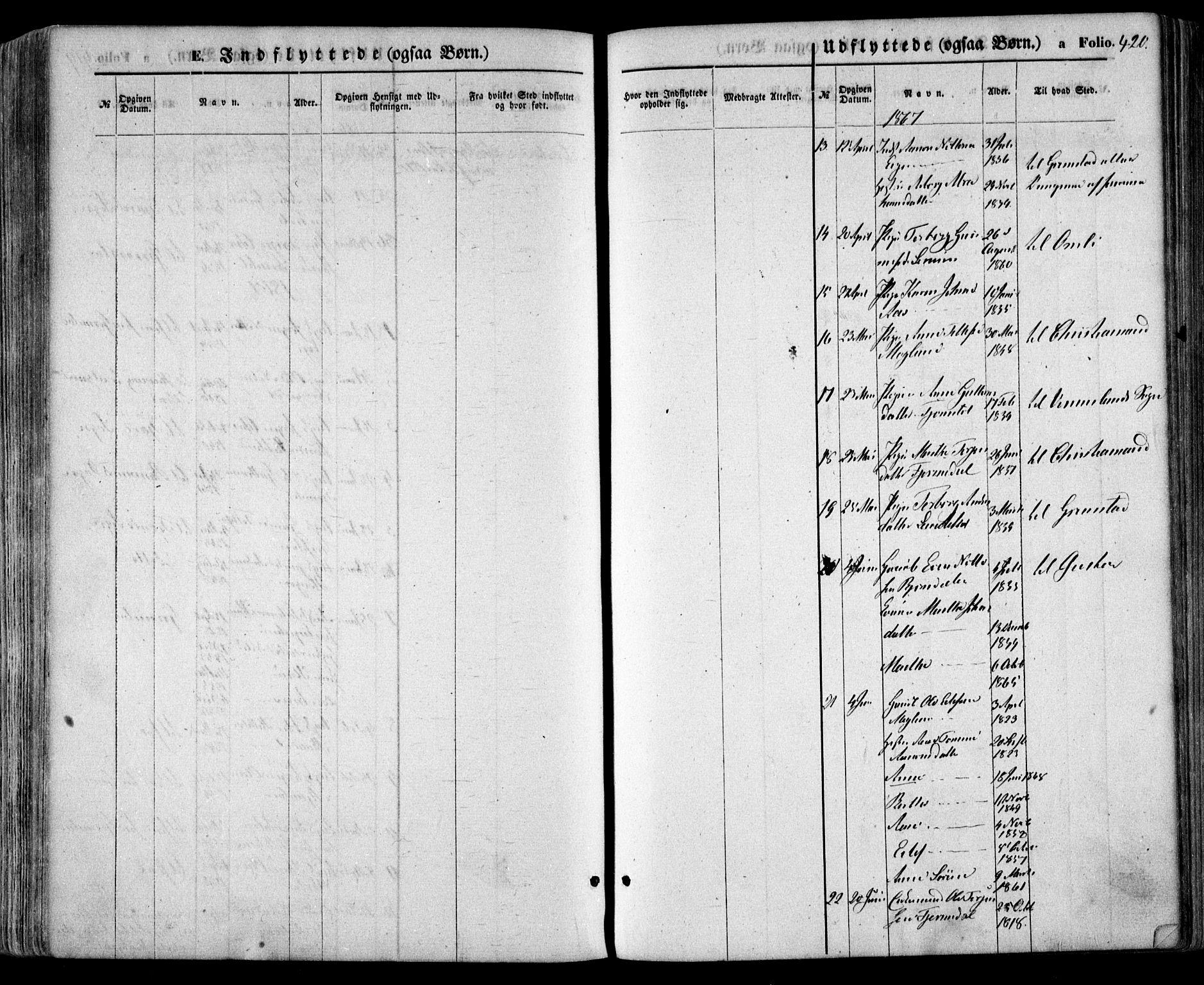 SAK, Evje sokneprestkontor, F/Fa/Faa/L0006: Ministerialbok nr. A 6, 1866-1884, s. 420