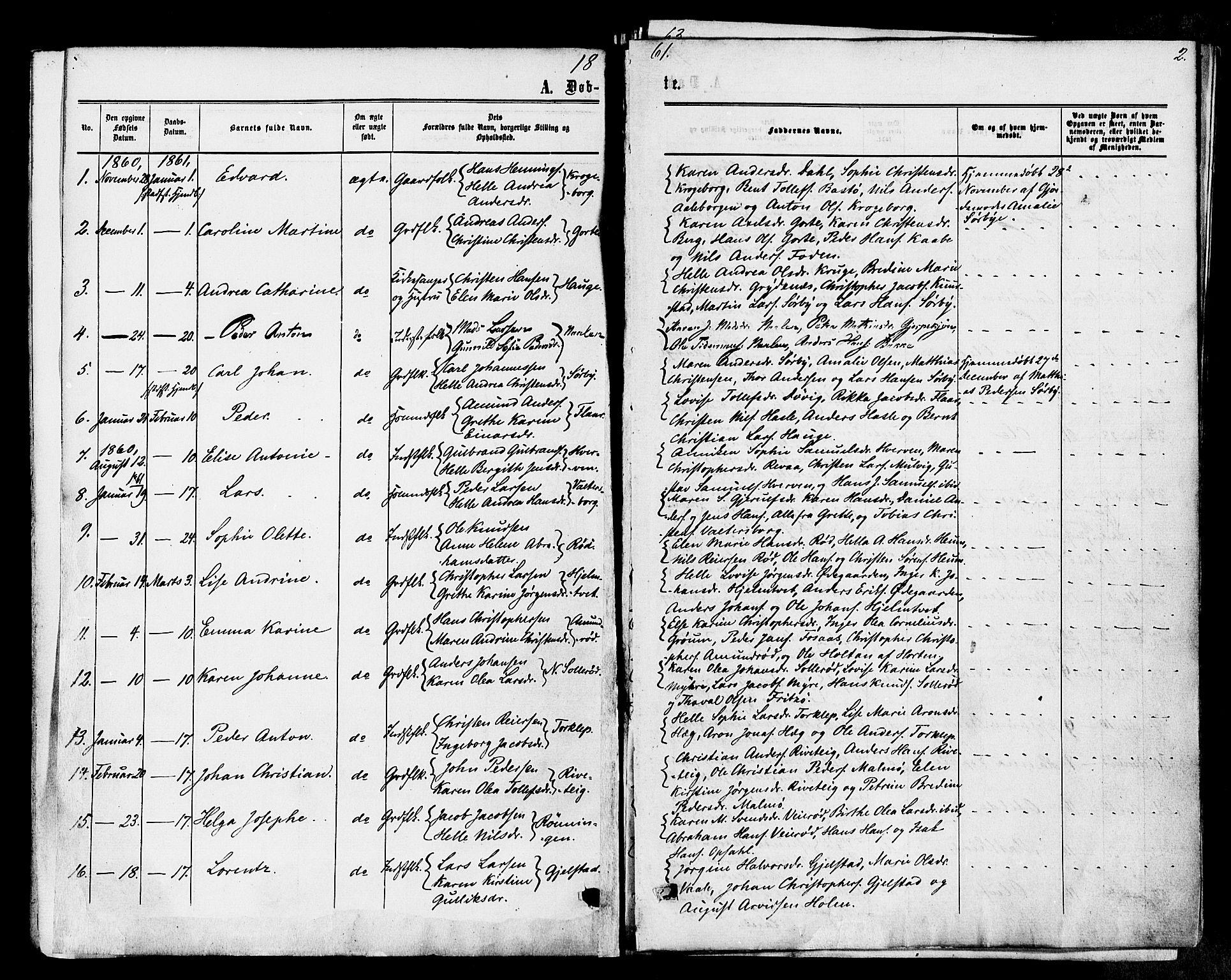 SAKO, Våle kirkebøker, F/Fa/L0010: Ministerialbok nr. I 10, 1861-1877, s. 2