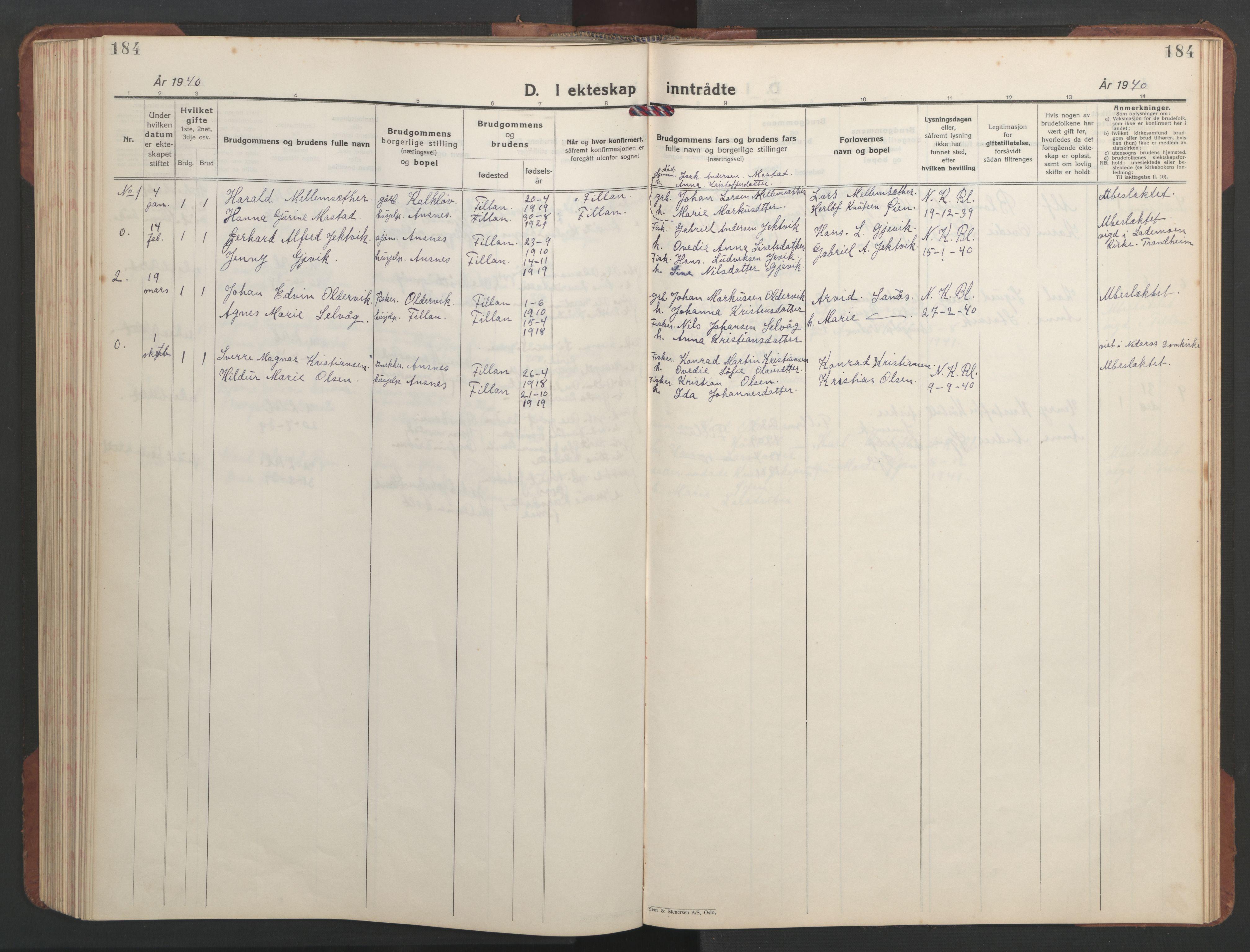 SAT, Ministerialprotokoller, klokkerbøker og fødselsregistre - Sør-Trøndelag, 637/L0564: Klokkerbok nr. 637C05, 1928-1968, s. 184