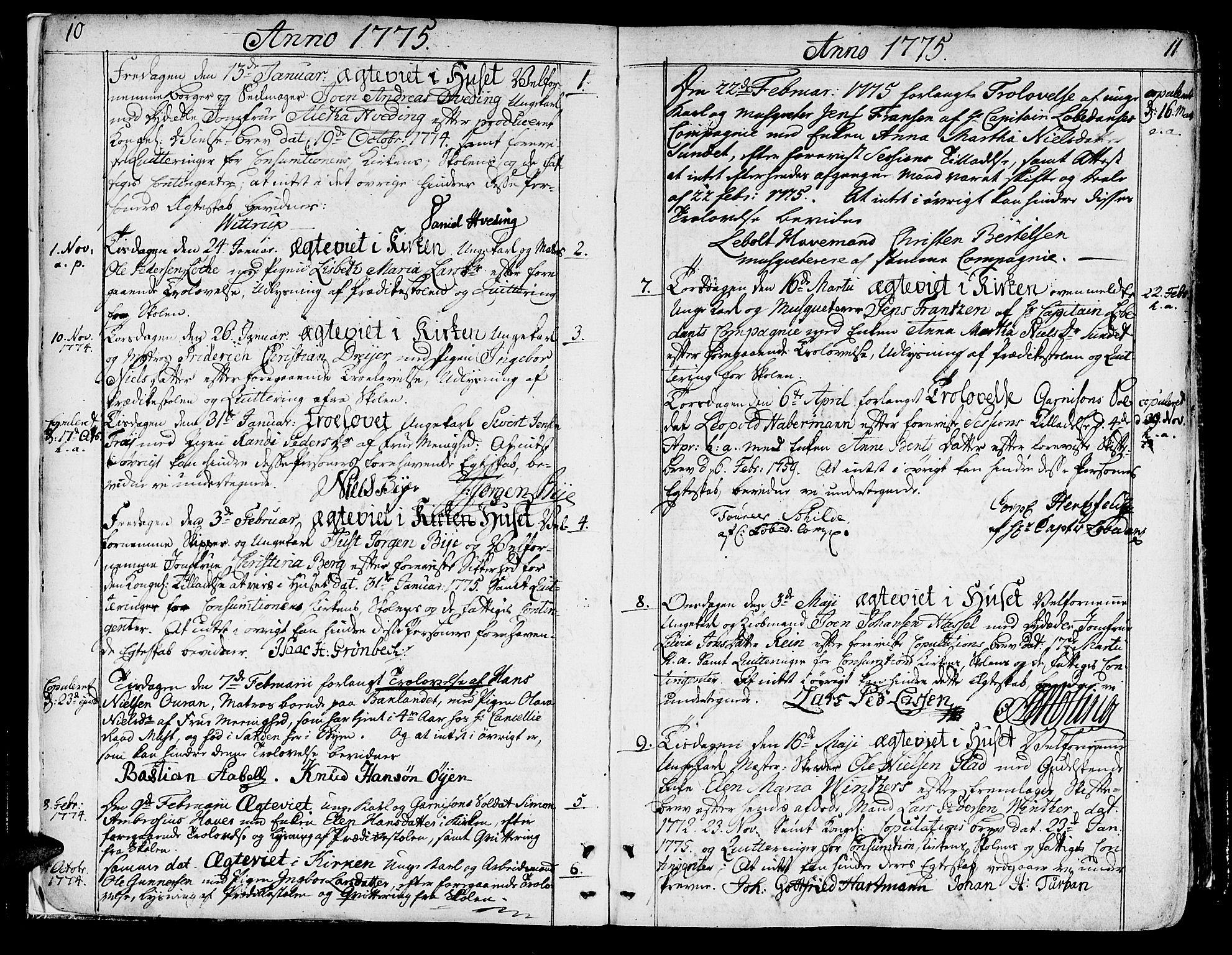 SAT, Ministerialprotokoller, klokkerbøker og fødselsregistre - Sør-Trøndelag, 602/L0105: Ministerialbok nr. 602A03, 1774-1814, s. 10-11