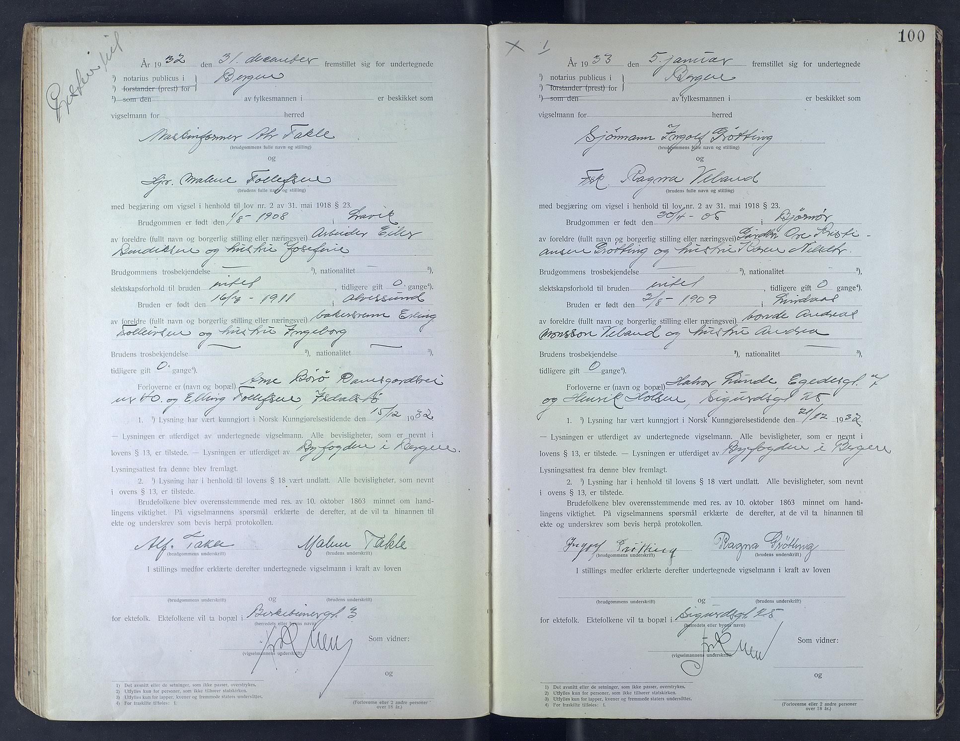SAB, Byfogd og Byskriver i Bergen, 10/10F/L0006: Vielsesprotokoller, 1931-1933, s. 100