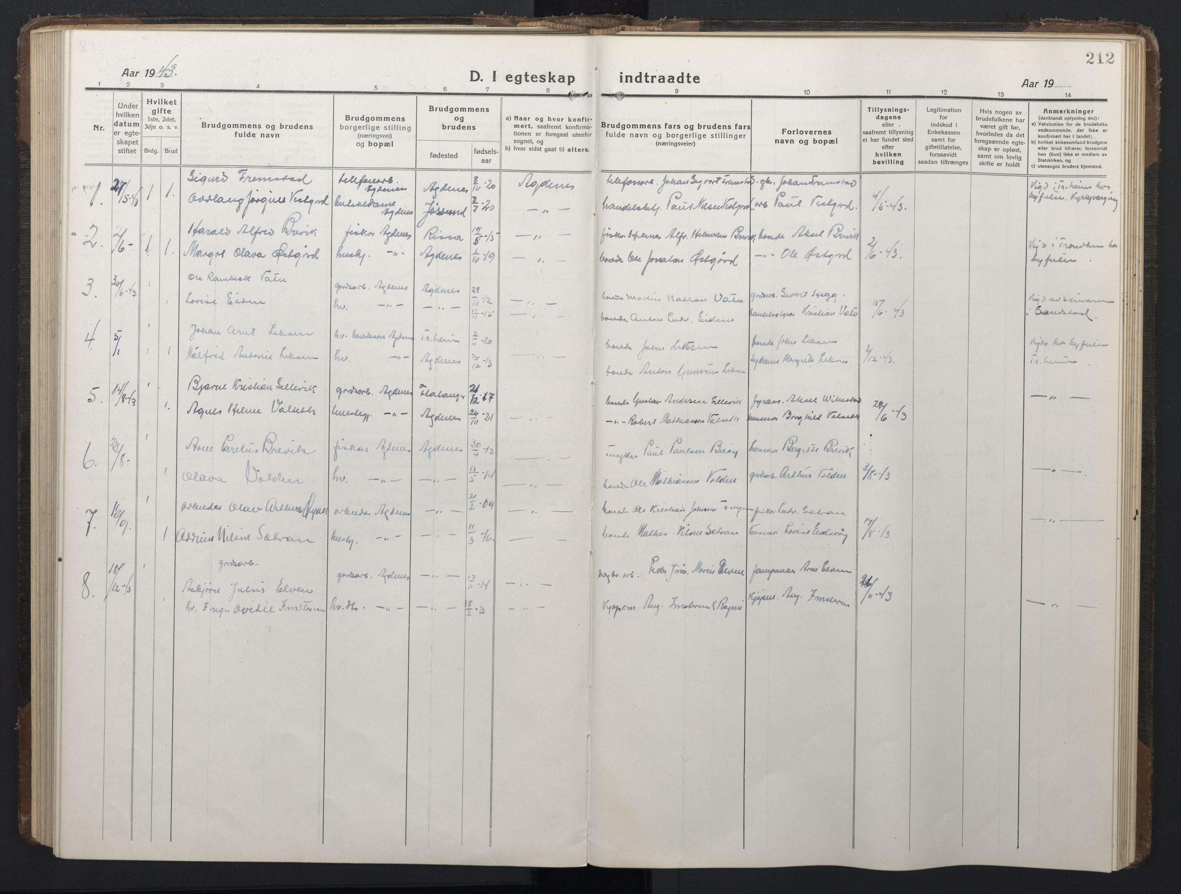 SAT, Ministerialprotokoller, klokkerbøker og fødselsregistre - Sør-Trøndelag, 662/L0758: Klokkerbok nr. 662C03, 1918-1948, s. 212
