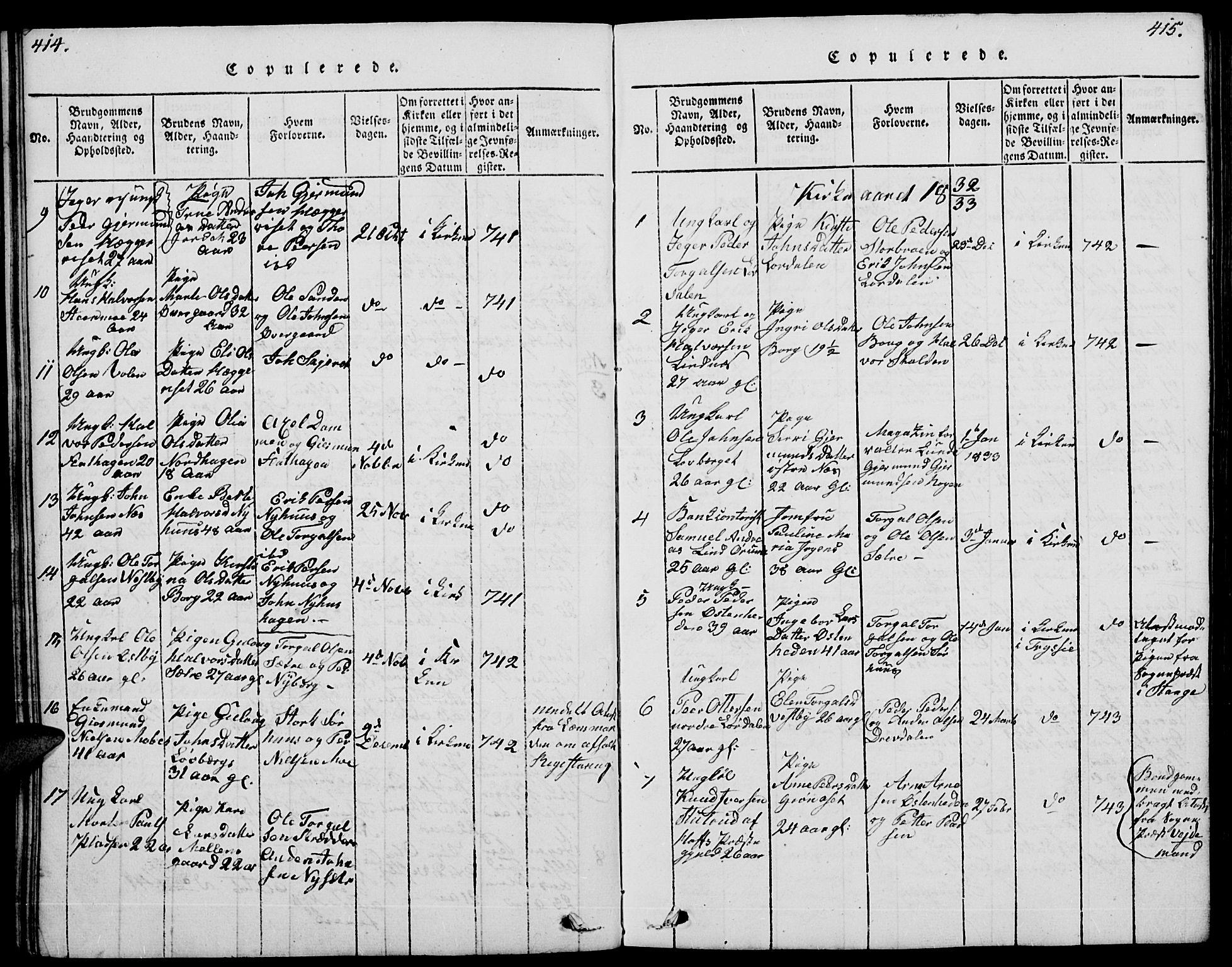 SAH, Trysil prestekontor, Klokkerbok nr. 4, 1814-1841, s. 414-415