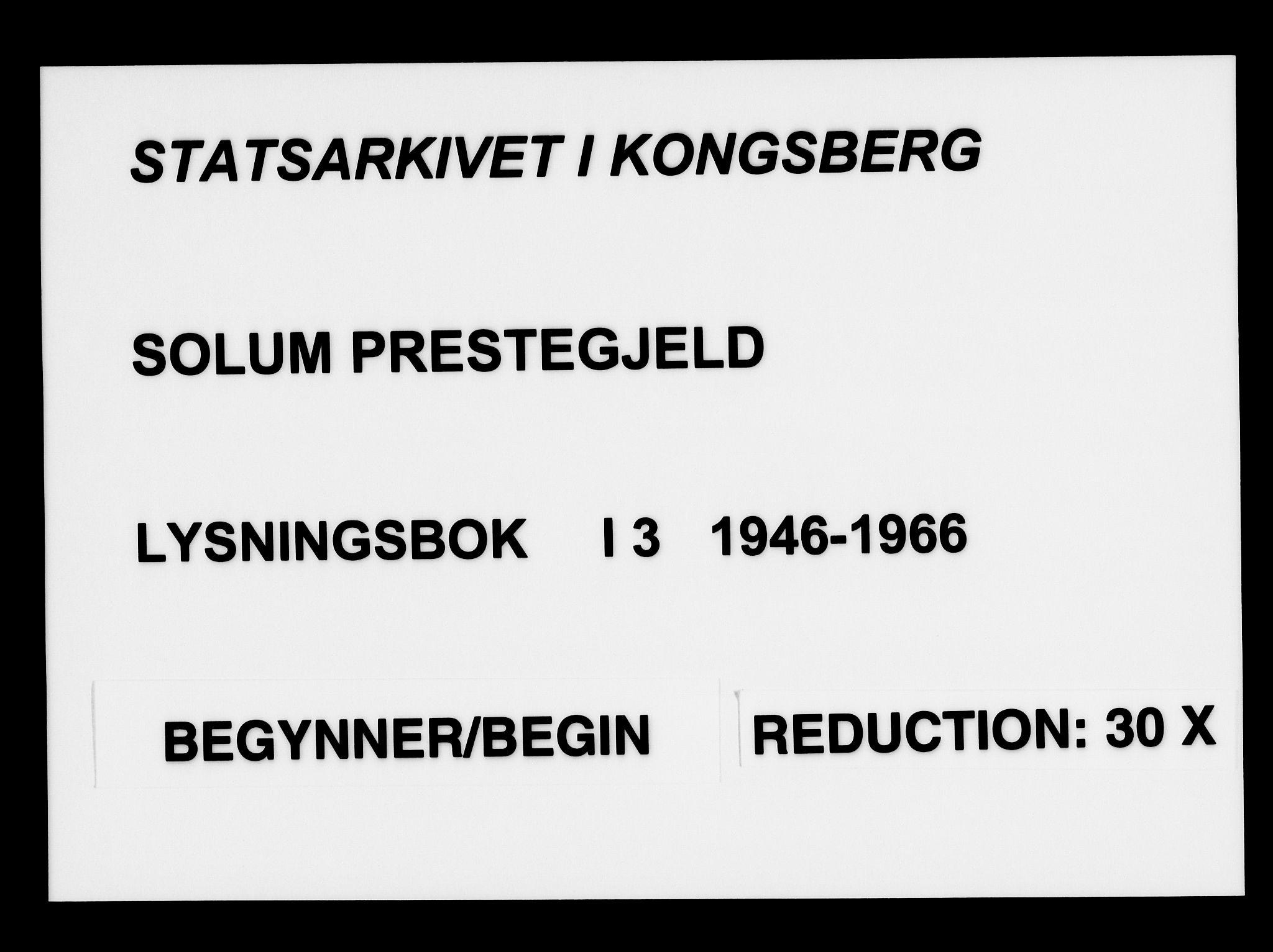 SAKO, Solum kirkebøker, H/Ha/L0003: Lysningsprotokoll nr. I 3, 1946-1966
