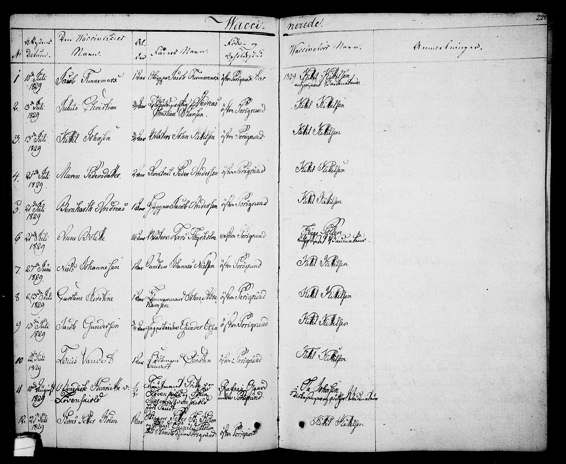 SAKO, Porsgrunn kirkebøker , F/Fa/L0005: Ministerialbok nr. 5, 1828-1840, s. 221