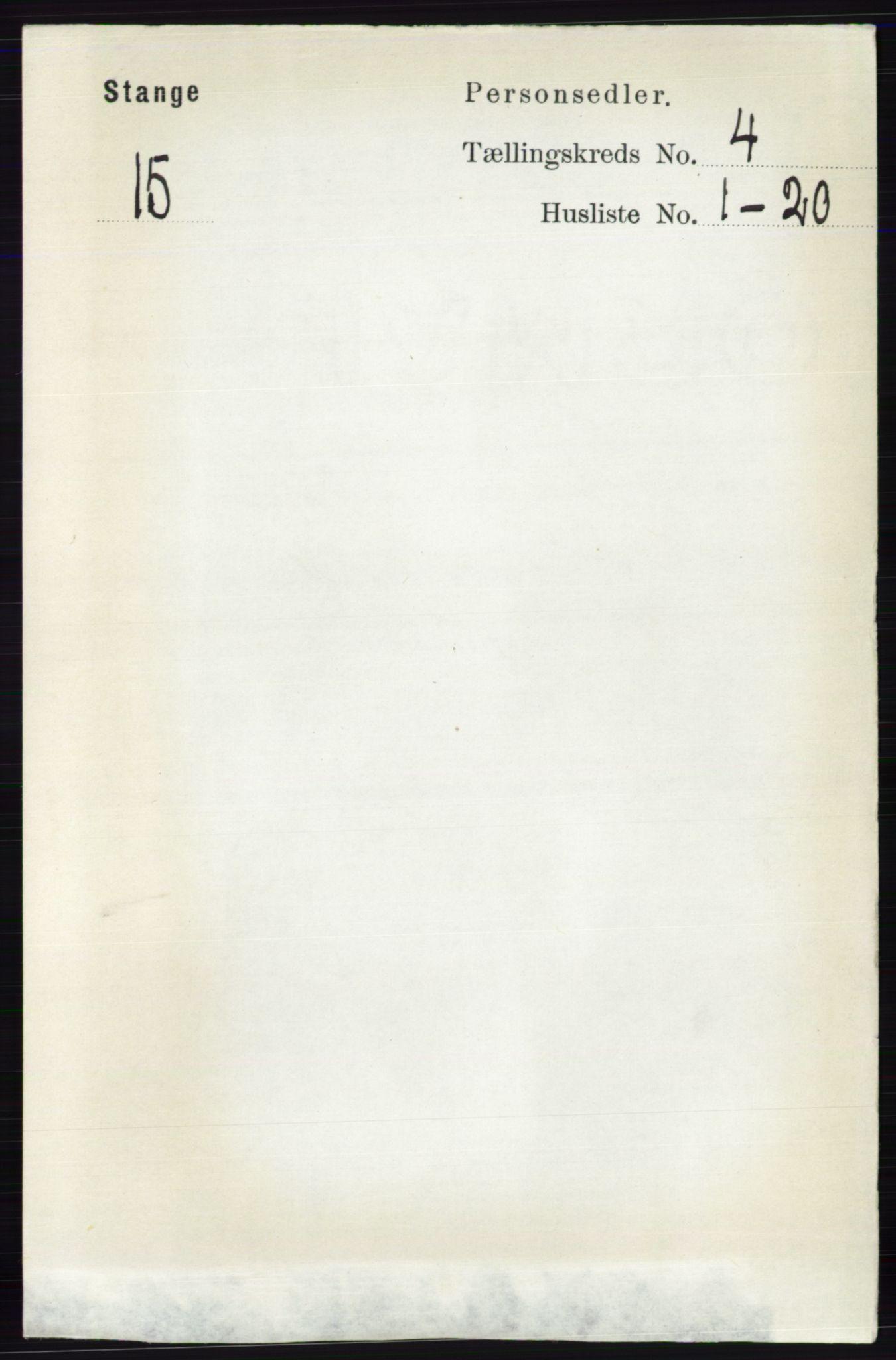RA, Folketelling 1891 for 0417 Stange herred, 1891, s. 2324