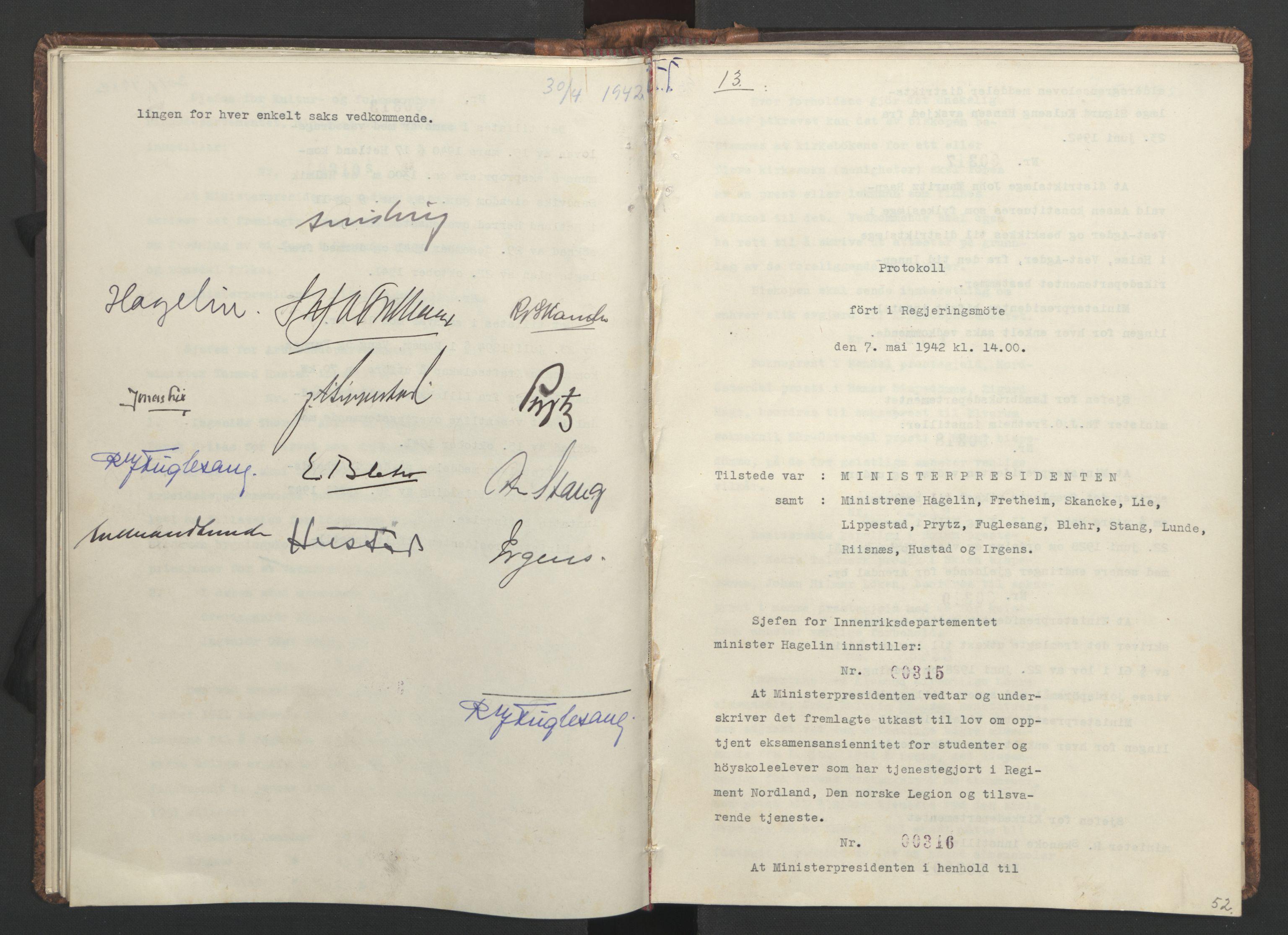 RA, NS-administrasjonen 1940-1945 (Statsrådsekretariatet, de kommisariske statsråder mm), D/Da/L0001: Beslutninger og tillegg (1-952 og 1-32), 1942, s. 51b-52a