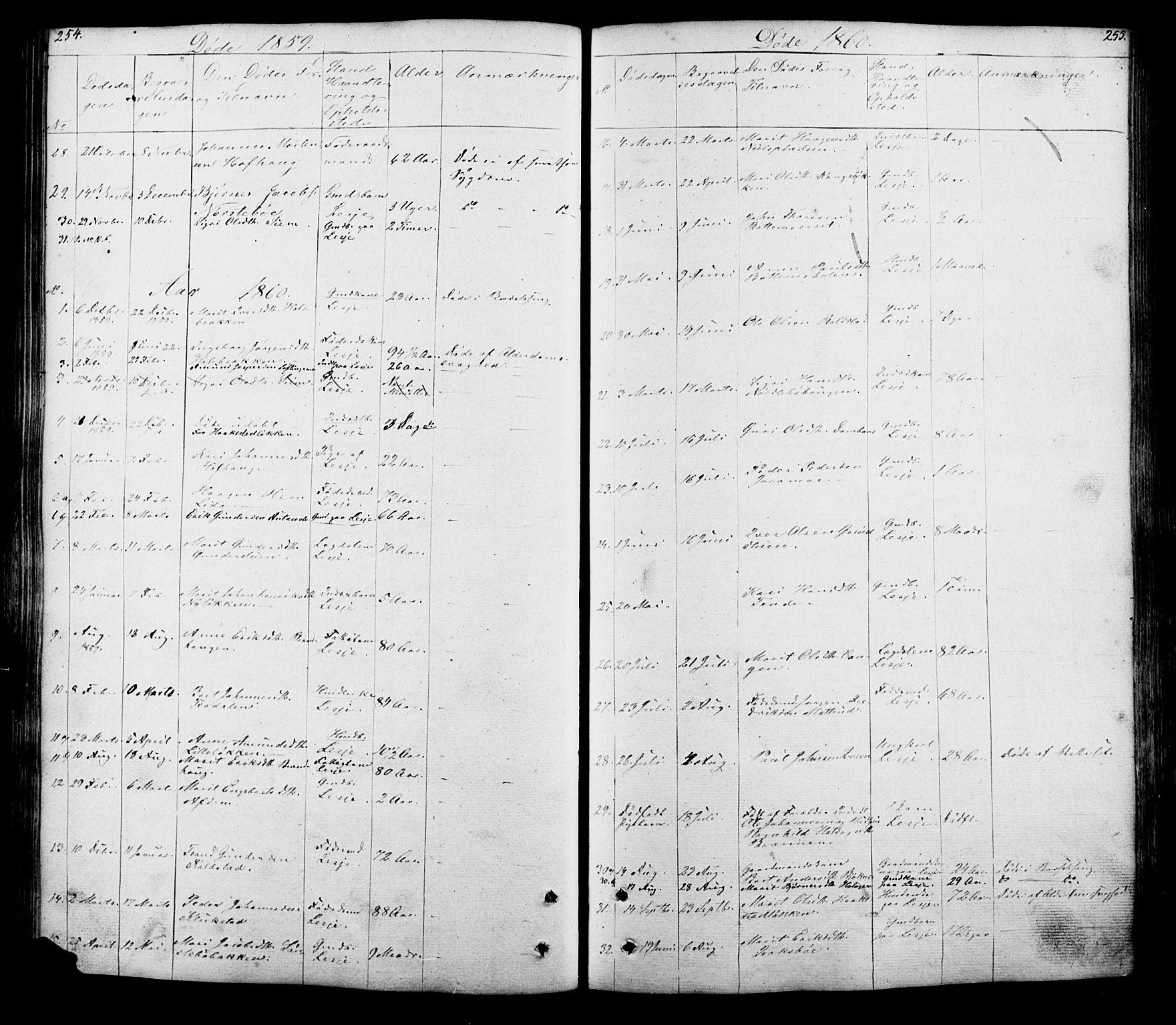SAH, Lesja prestekontor, Klokkerbok nr. 5, 1850-1894, s. 254-255