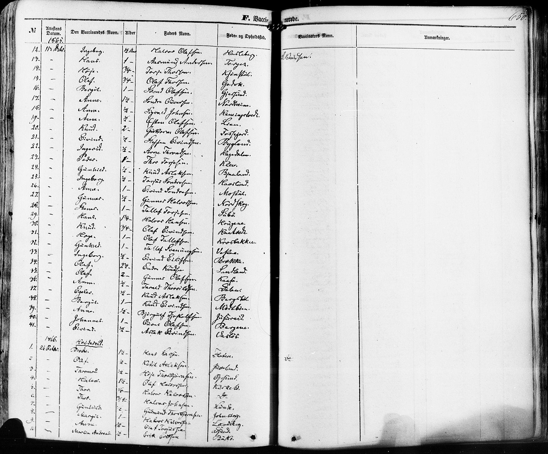 SAKO, Kviteseid kirkebøker, F/Fa/L0007: Ministerialbok nr. I 7, 1859-1881, s. 650