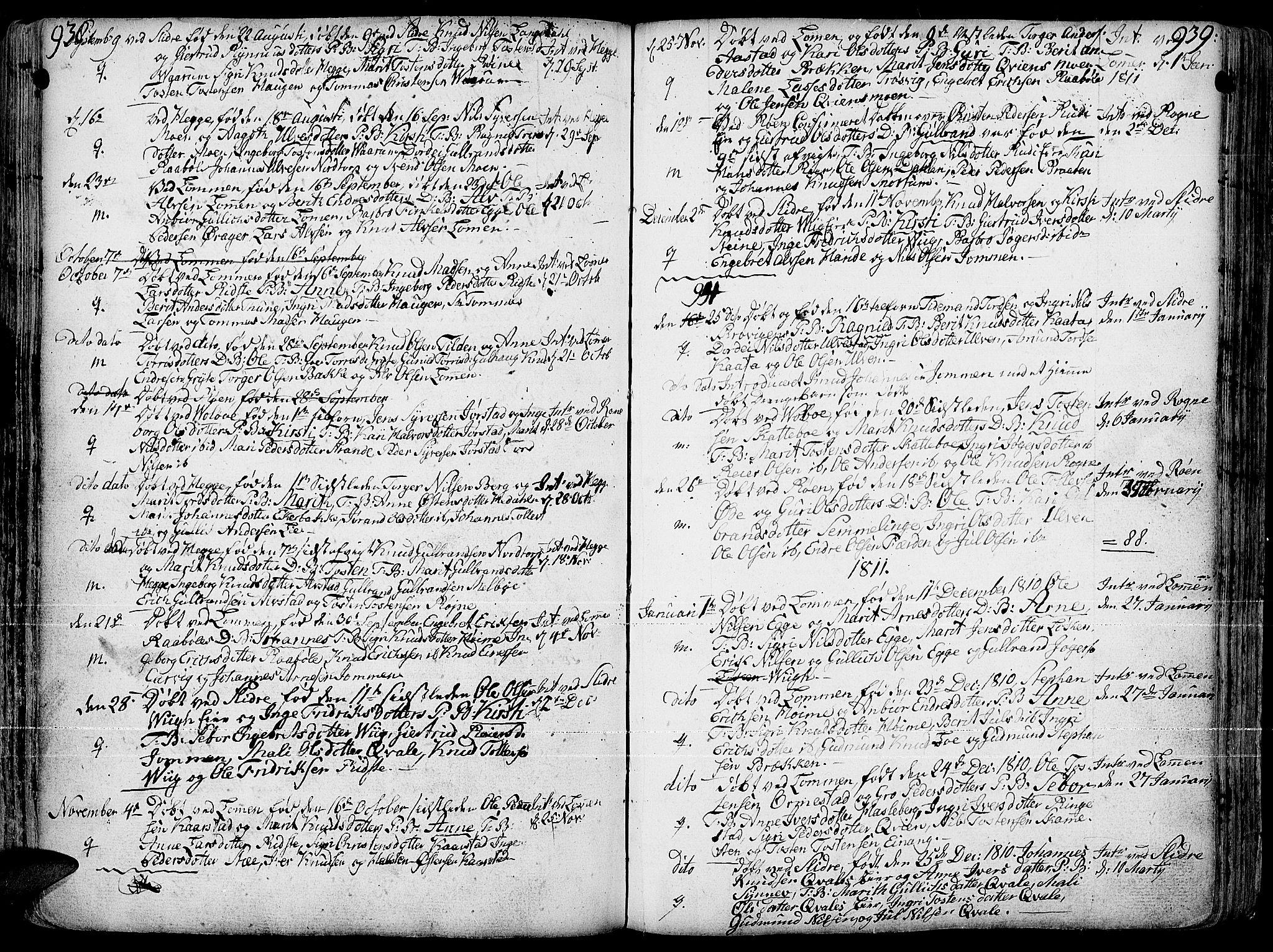 SAH, Slidre prestekontor, Ministerialbok nr. 1, 1724-1814, s. 938-939