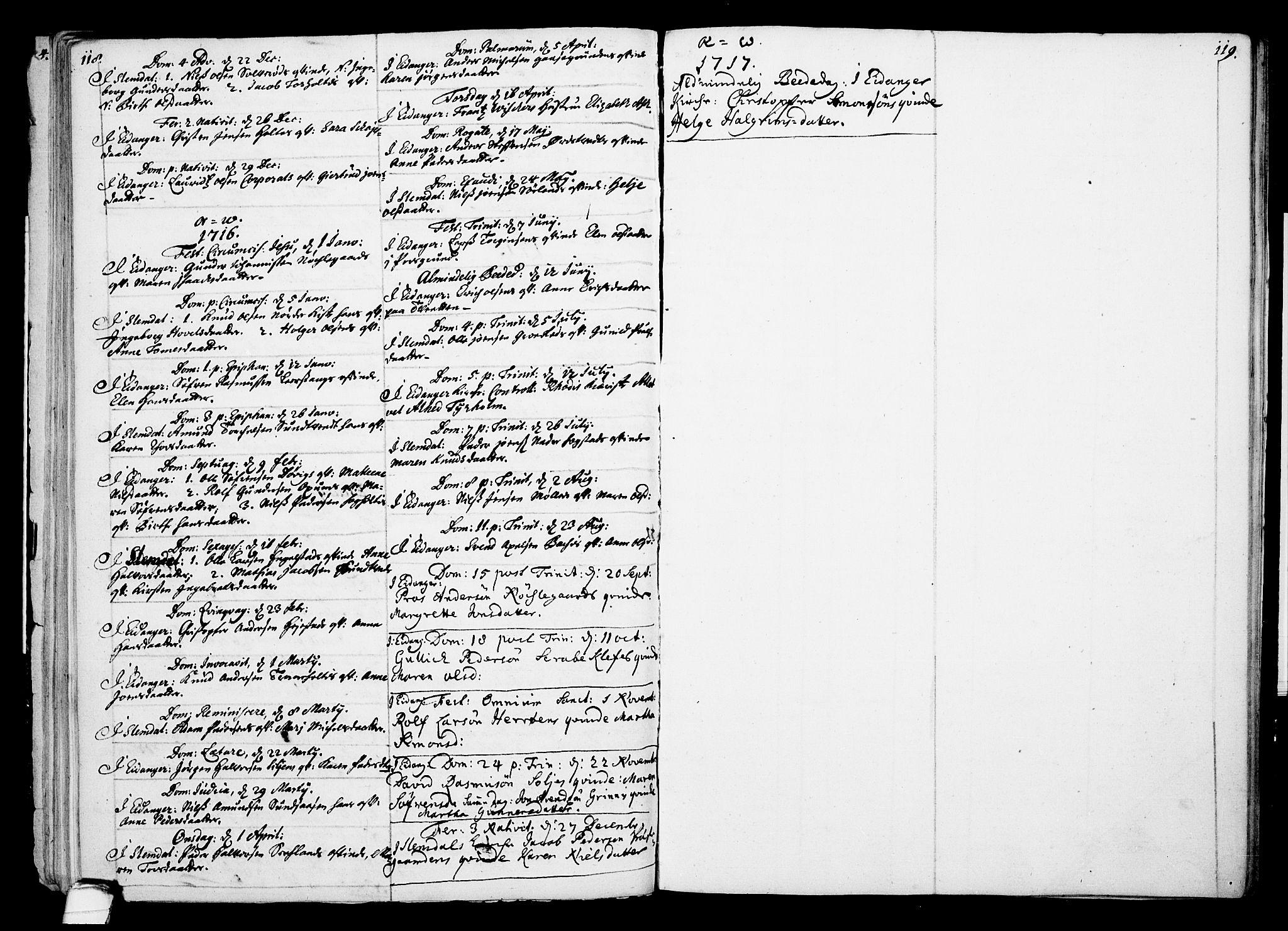 SAKO, Eidanger kirkebøker, F/Fa/L0002: Ministerialbok nr. 2, 1712-1720, s. 118-119