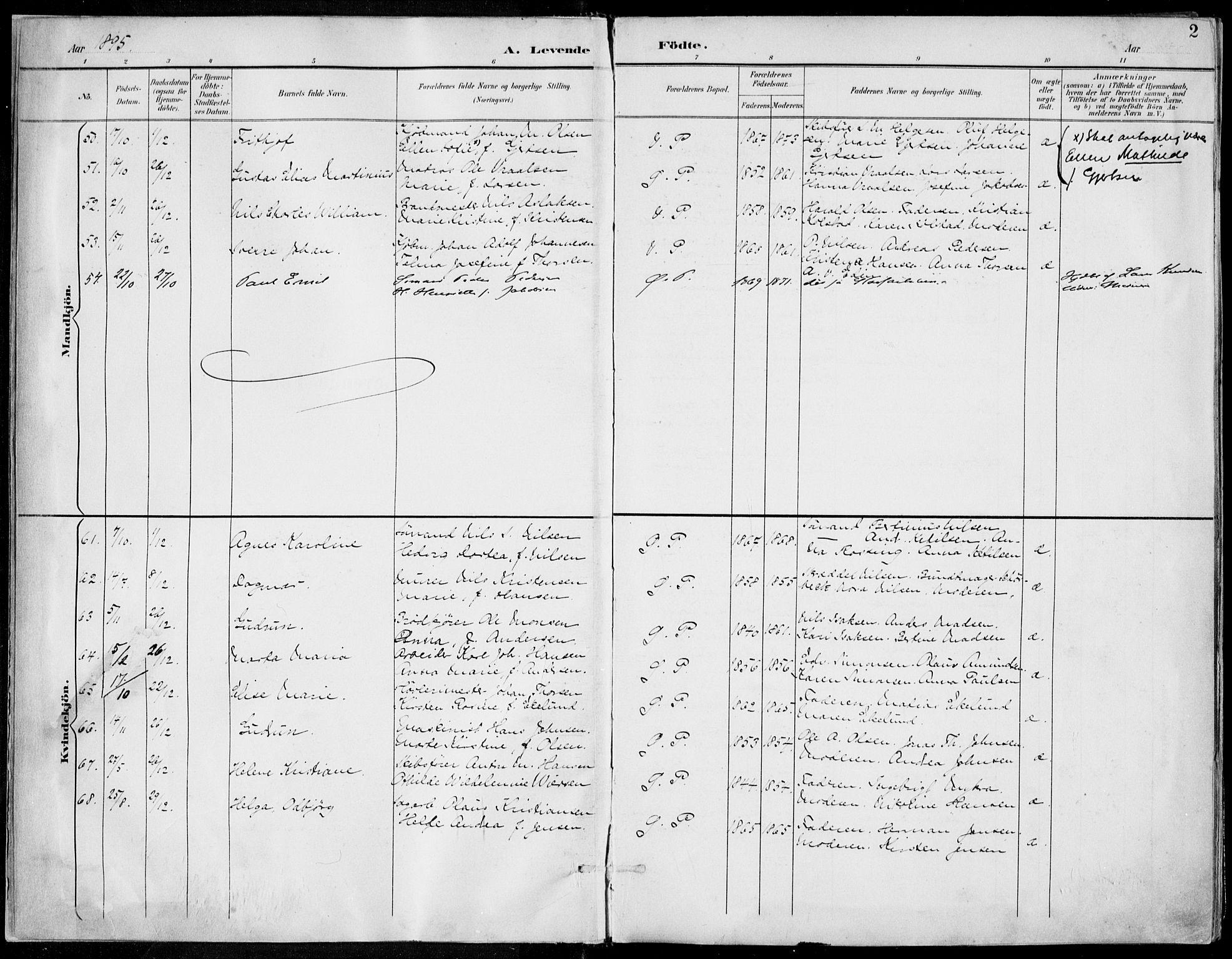 SAKO, Porsgrunn kirkebøker , F/Fa/L0010: Ministerialbok nr. 10, 1895-1919, s. 2
