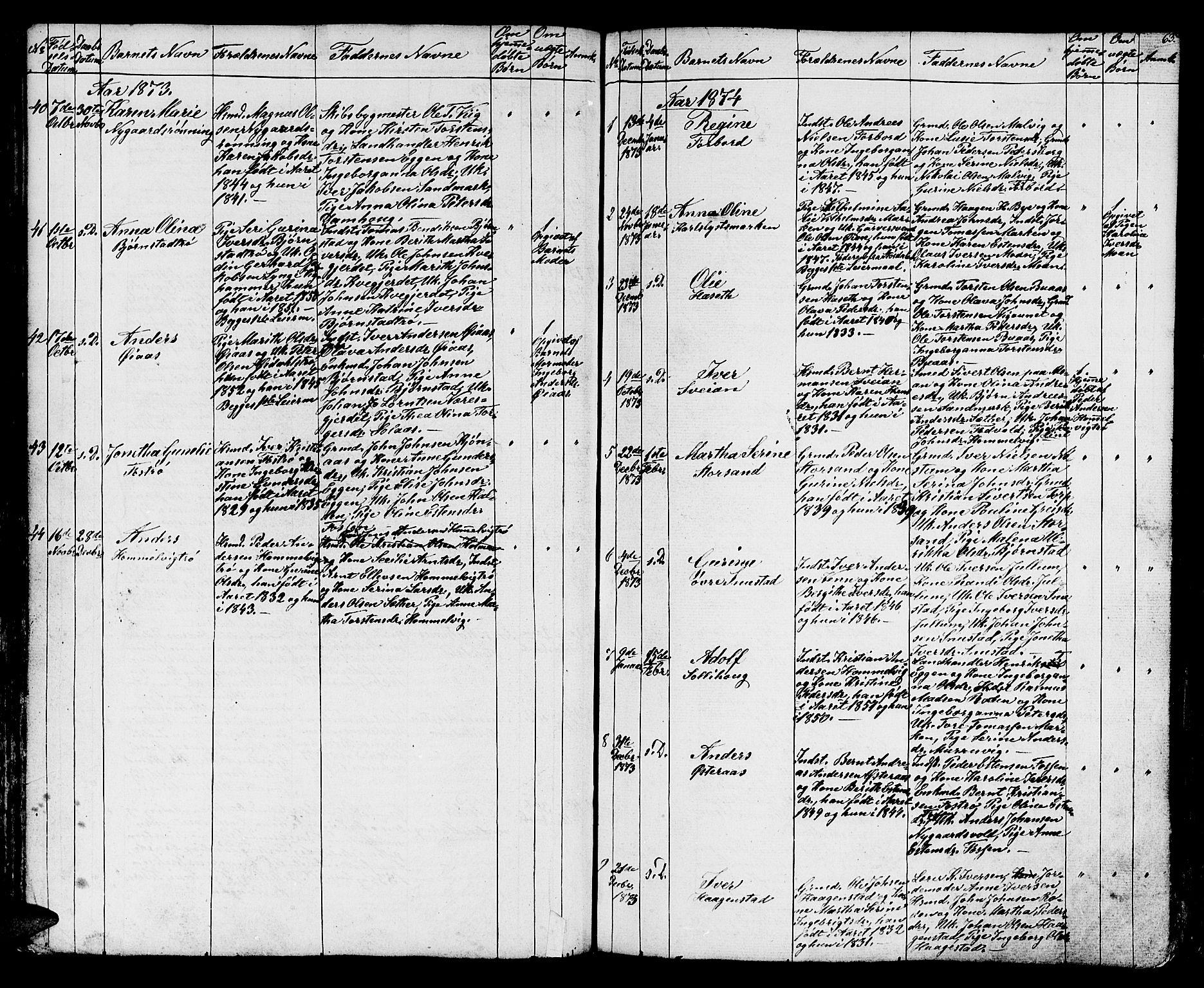 SAT, Ministerialprotokoller, klokkerbøker og fødselsregistre - Sør-Trøndelag, 616/L0422: Klokkerbok nr. 616C05, 1850-1888, s. 63
