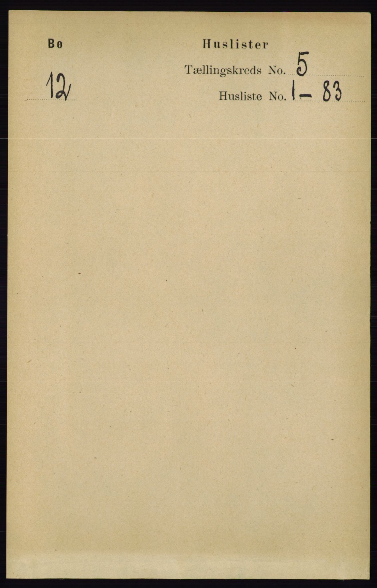 RA, Folketelling 1891 for 0821 Bø herred, 1891, s. 1333