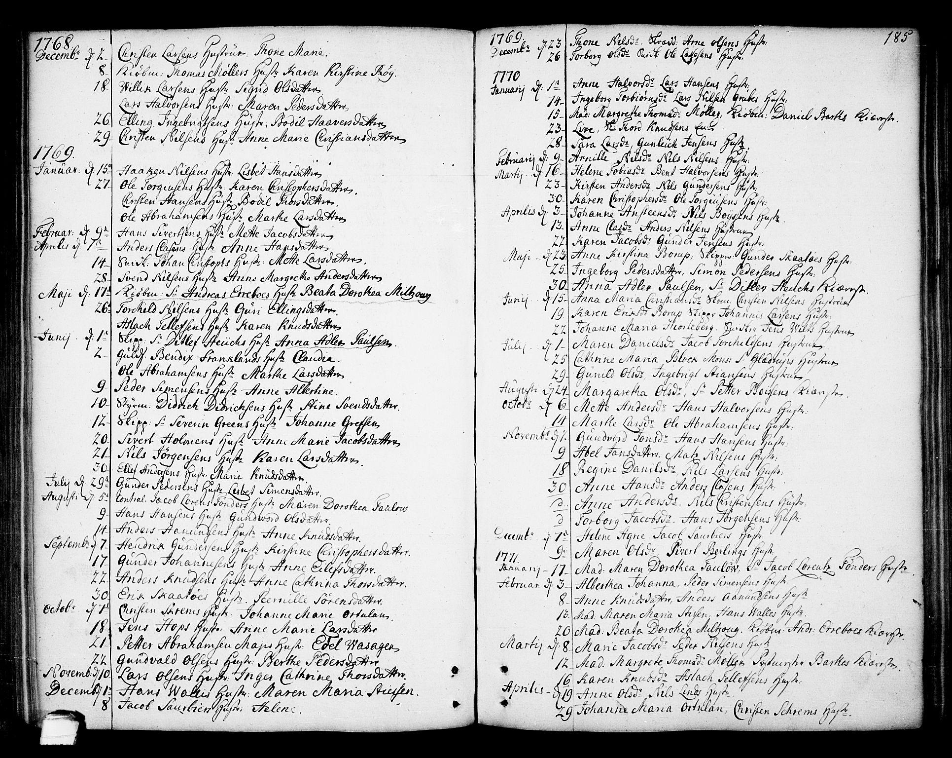 SAKO, Kragerø kirkebøker, F/Fa/L0002: Ministerialbok nr. 2, 1767-1802, s. 185