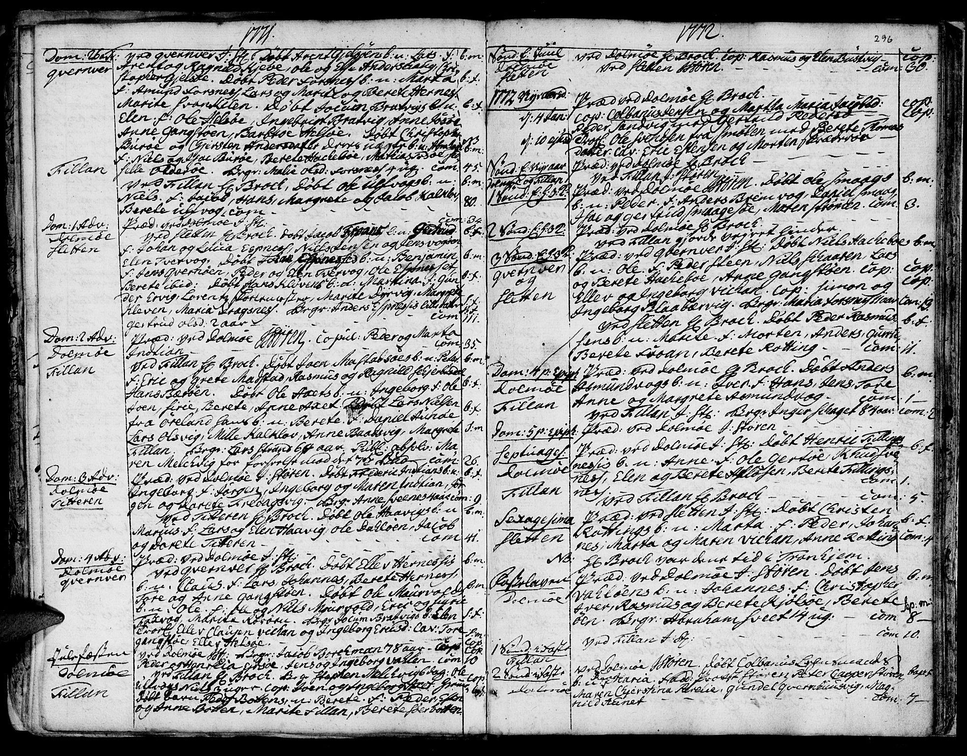 SAT, Ministerialprotokoller, klokkerbøker og fødselsregistre - Sør-Trøndelag, 634/L0525: Ministerialbok nr. 634A01, 1736-1775, s. 296