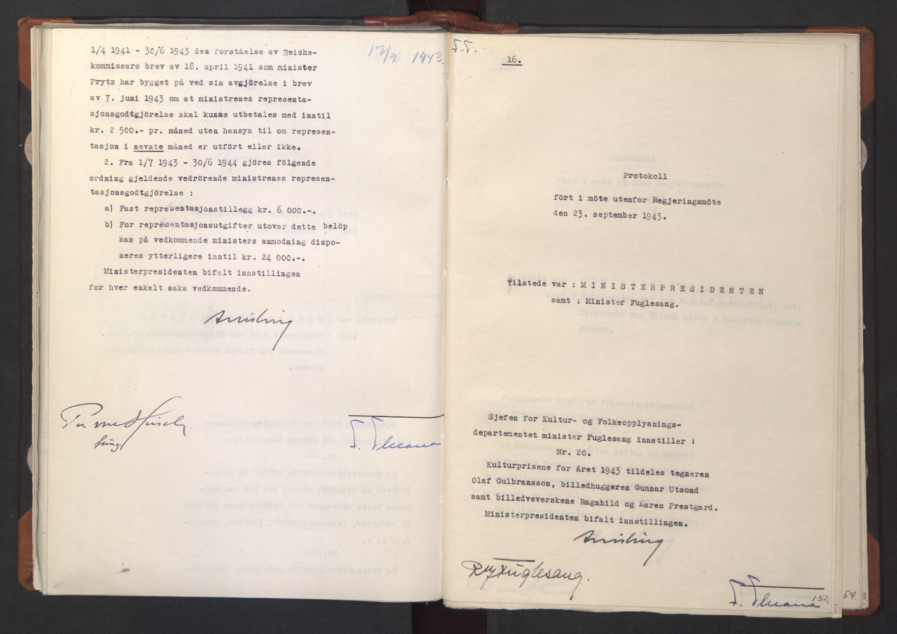 RA, NS-administrasjonen 1940-1945 (Statsrådsekretariatet, de kommisariske statsråder mm), D/Da/L0003: Vedtak (Beslutninger) nr. 1-746 og tillegg nr. 1-47 (RA. j.nr. 1394/1944, tilgangsnr. 8/1944, 1943, s. 151b-152a