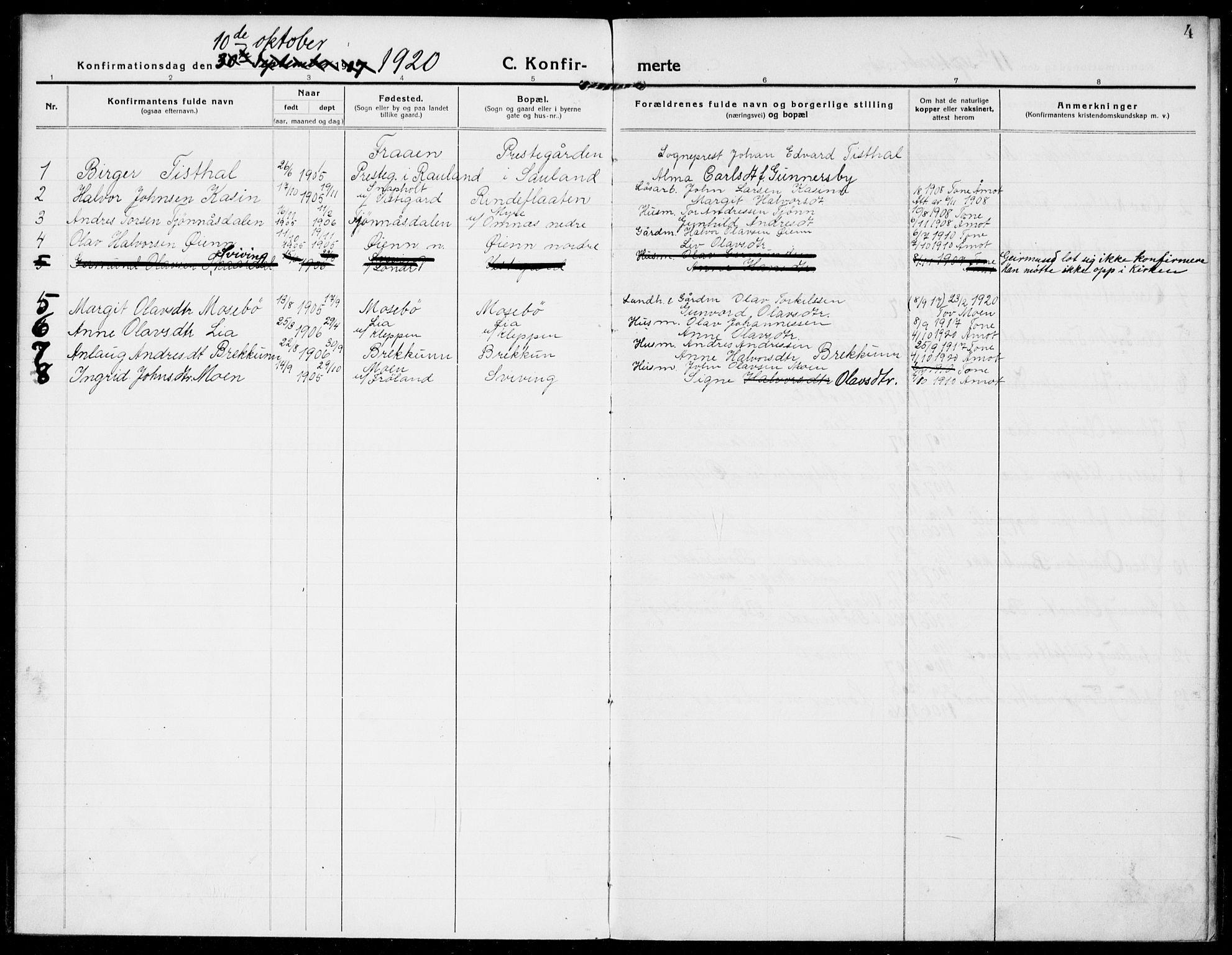 SAKO, Hjartdal kirkebøker, F/Fb/L0003: Ministerialbok nr. II 3, 1920-1932, s. 4