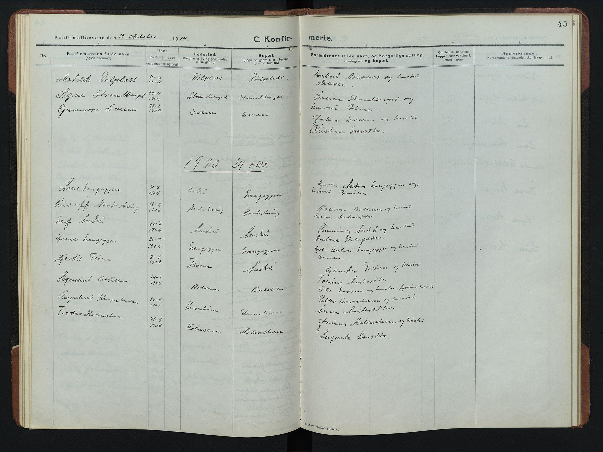 SAH, Rendalen prestekontor, H/Ha/Hab/L0008: Klokkerbok nr. 8, 1914-1948, s. 45