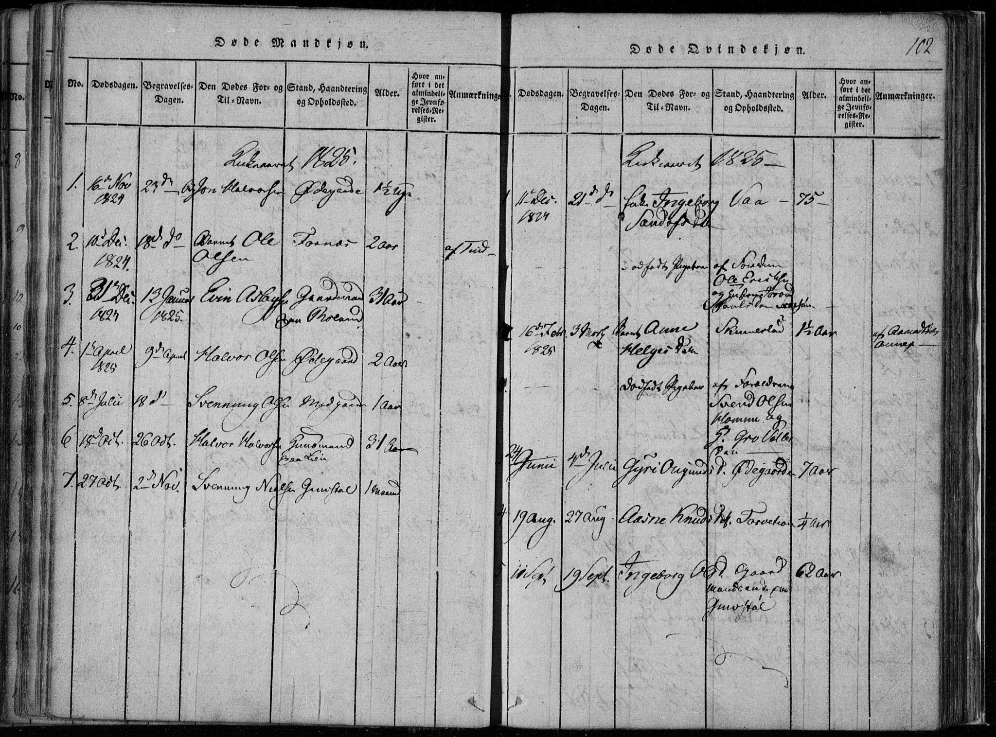 SAKO, Rauland kirkebøker, F/Fa/L0001: Ministerialbok nr. 1, 1814-1859, s. 102