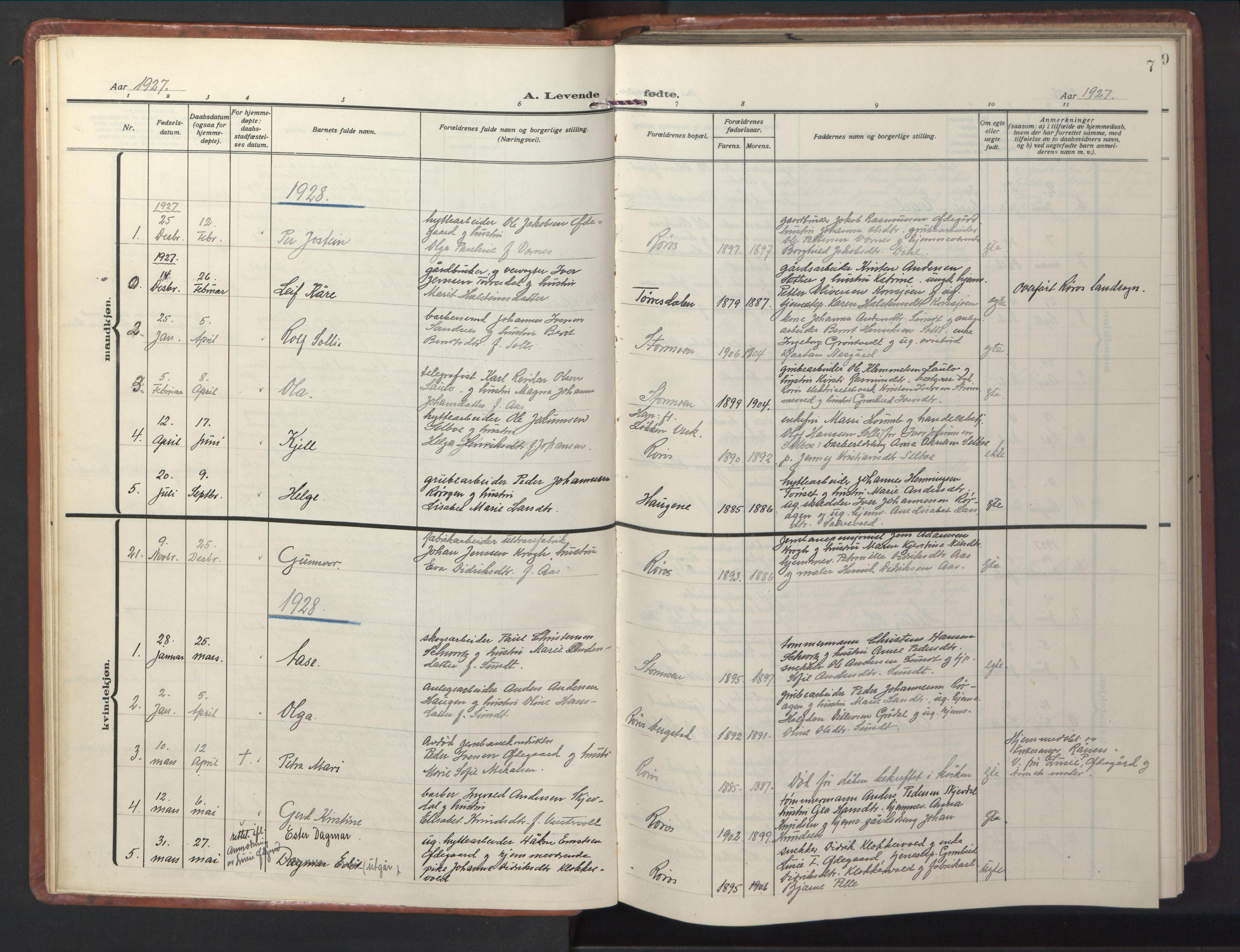 SAT, Ministerialprotokoller, klokkerbøker og fødselsregistre - Sør-Trøndelag, 681/L0943: Klokkerbok nr. 681C07, 1926-1954, s. 7