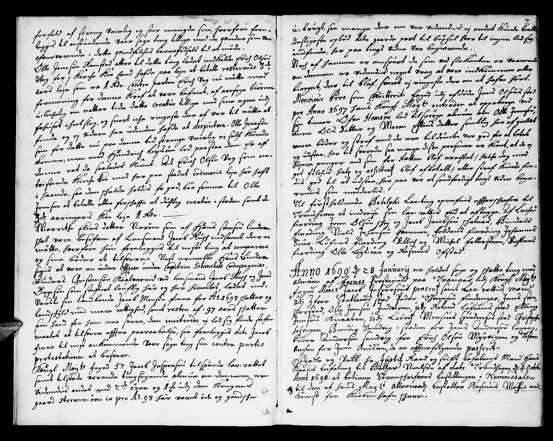 SAT, Namdal sorenskriveri, 1/1A/L0003: Tingbok, 1699-1712, s. 1b-2a