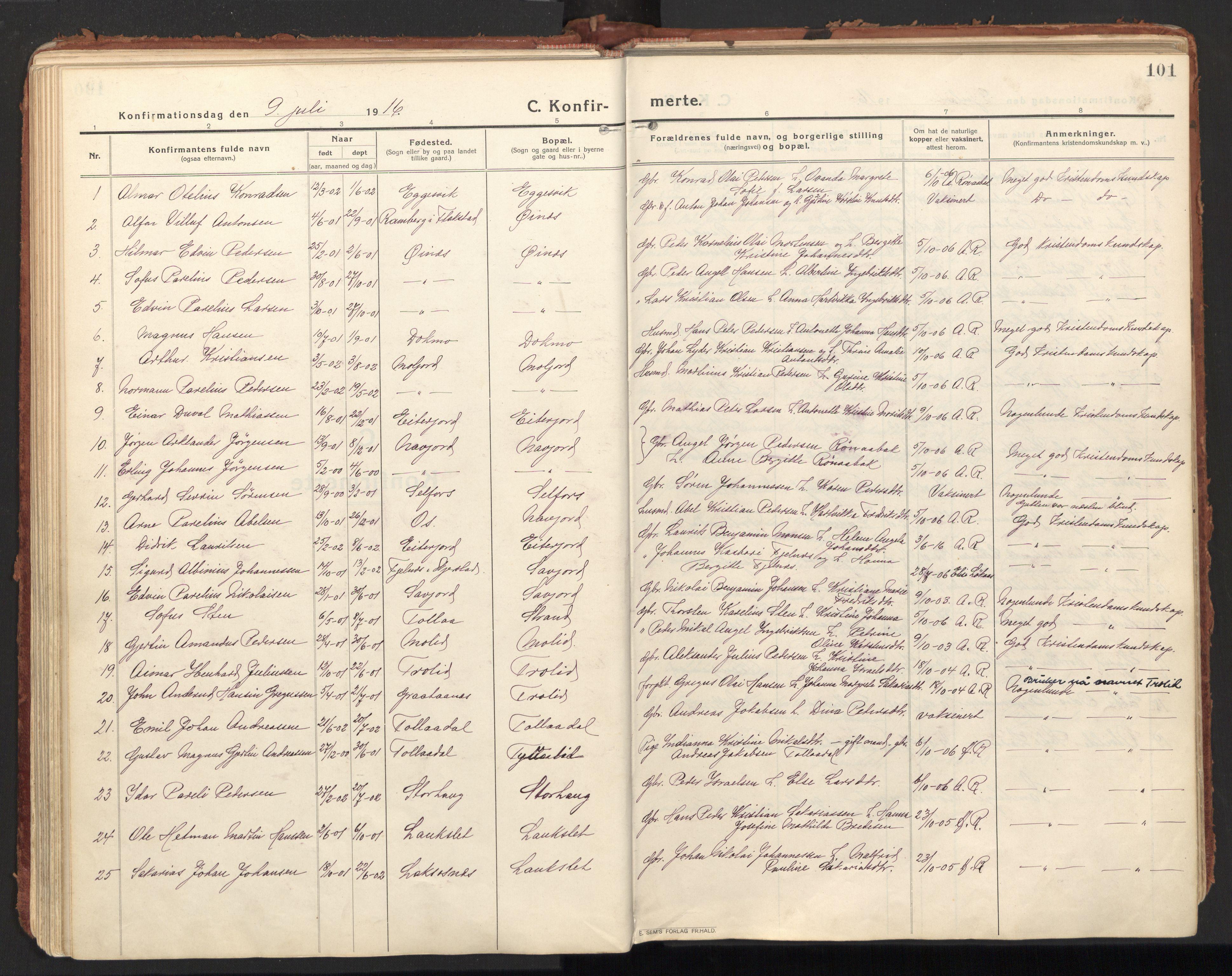 SAT, Ministerialprotokoller, klokkerbøker og fødselsregistre - Nordland, 846/L0650: Ministerialbok nr. 846A08, 1916-1935, s. 101