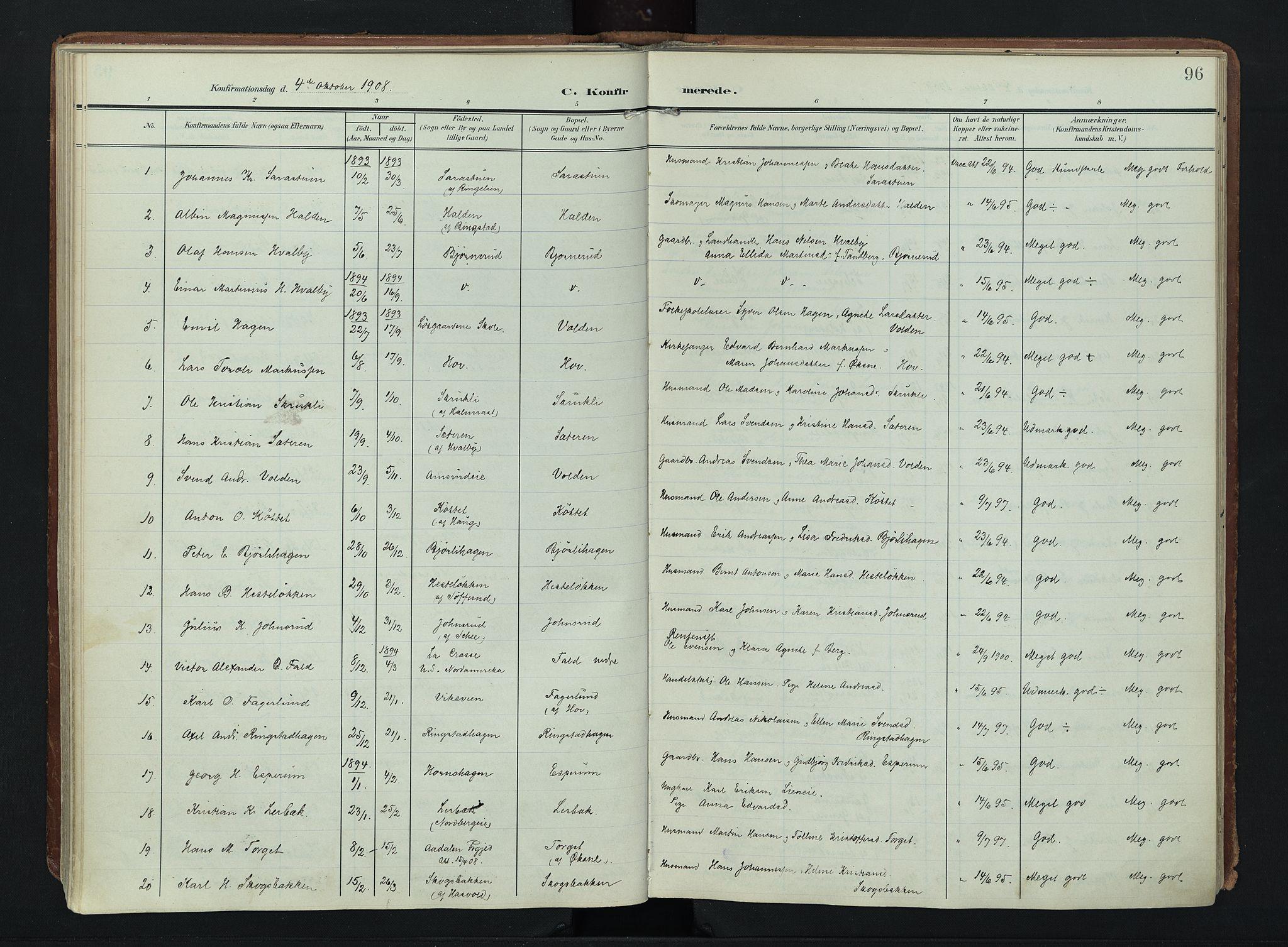SAH, Søndre Land prestekontor, K/L0007: Ministerialbok nr. 7, 1905-1914, s. 96