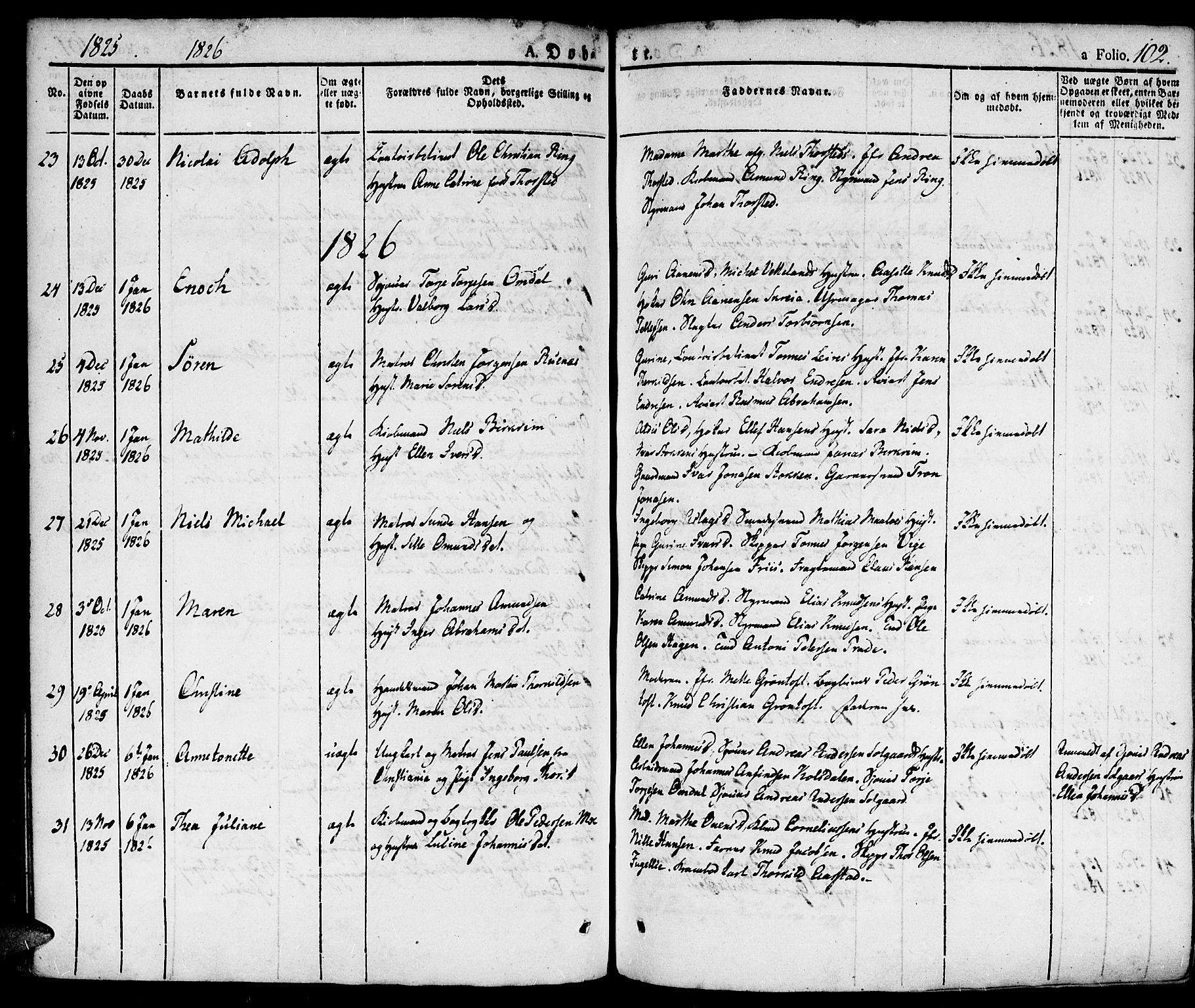 SAK, Kristiansand domprosti, F/Fa/L0009: Ministerialbok nr. A 9, 1821-1827, s. 102