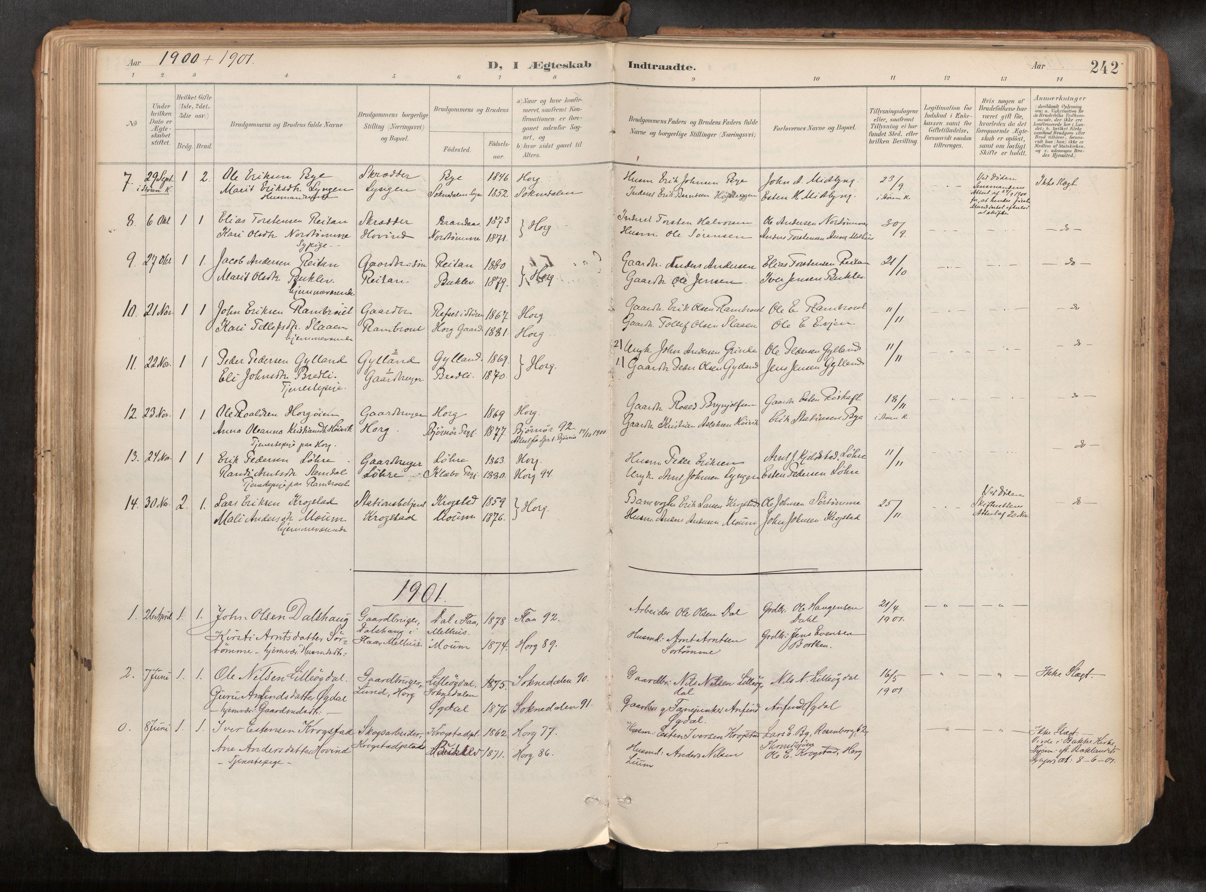 SAT, Ministerialprotokoller, klokkerbøker og fødselsregistre - Sør-Trøndelag, 692/L1105b: Ministerialbok nr. 692A06, 1891-1934, s. 242