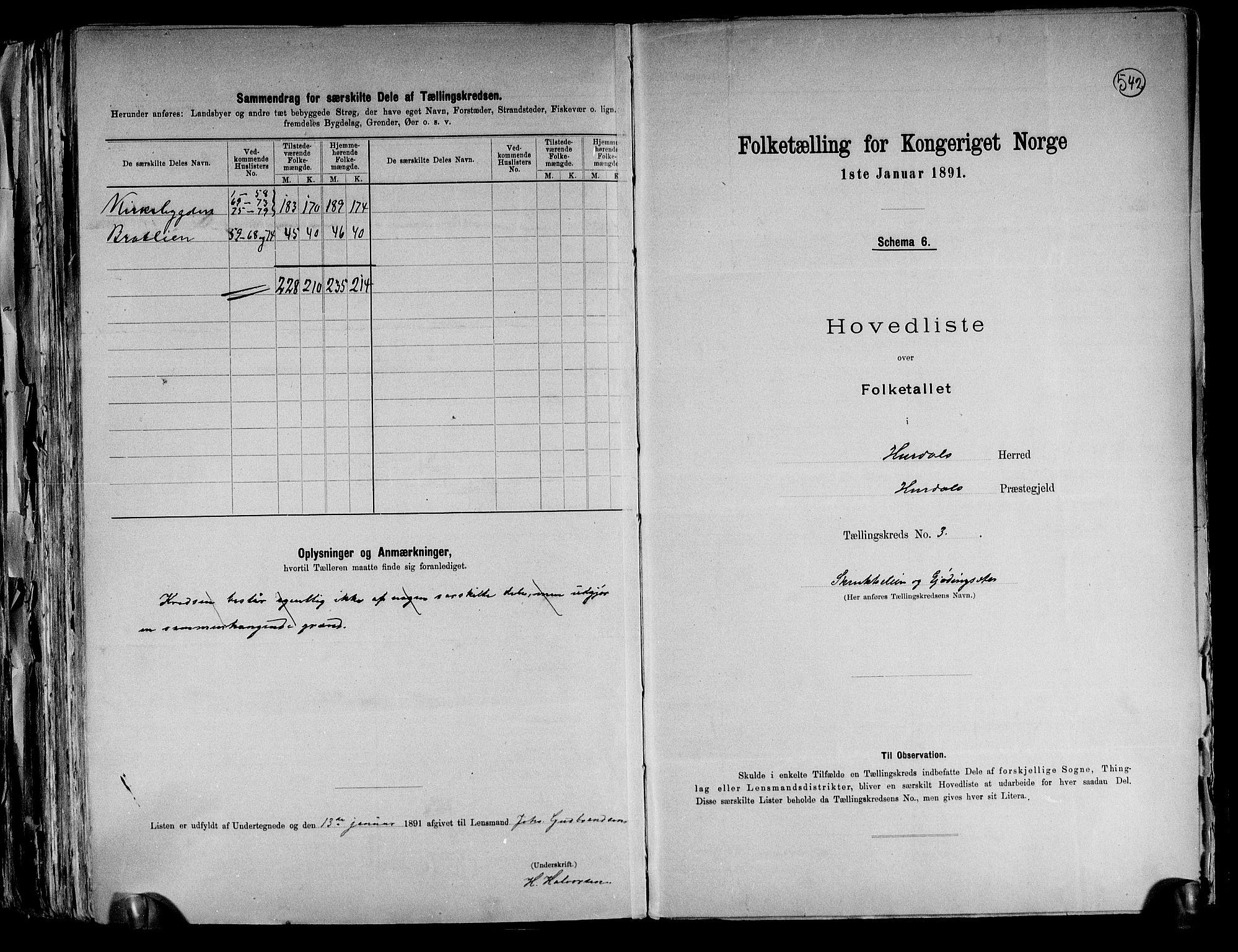RA, Folketelling 1891 for 0239 Hurdal herred, 1891, s. 8