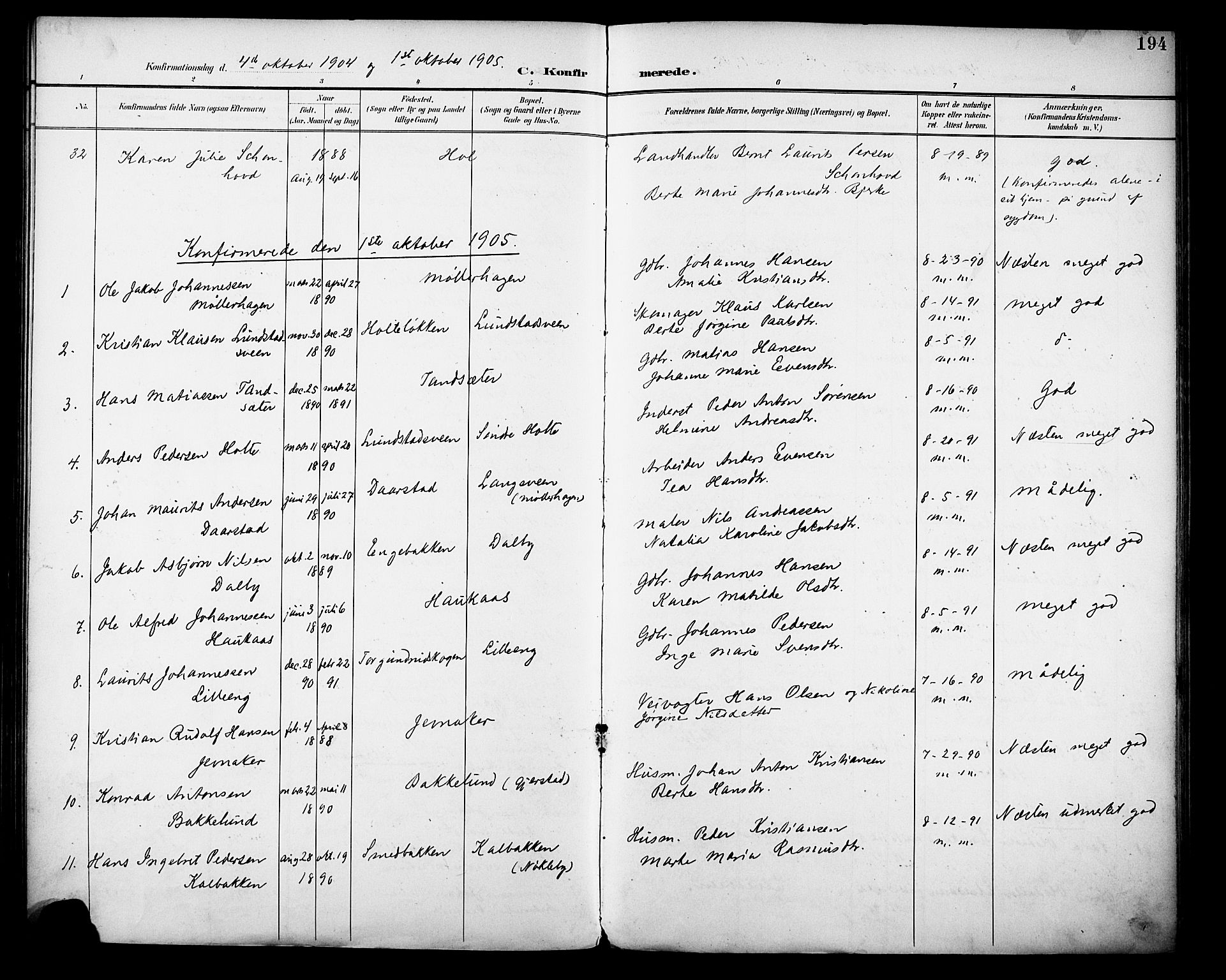 SAH, Vestre Toten prestekontor, H/Ha/Haa/L0013: Ministerialbok nr. 13, 1895-1911, s. 194