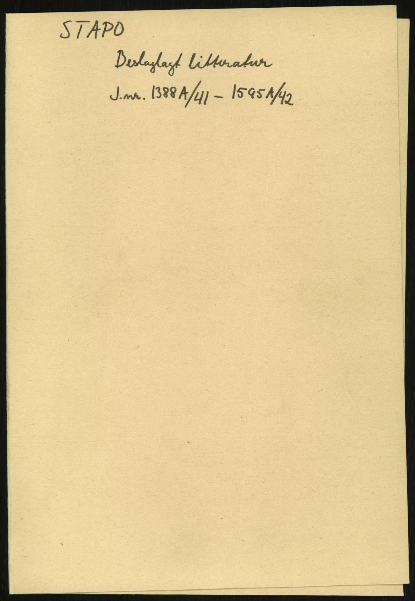 RA, Statspolitiet - Hovedkontoret / Osloavdelingen, F/L0091: Beslaglagt litteratur, 1941-1943, s. 1