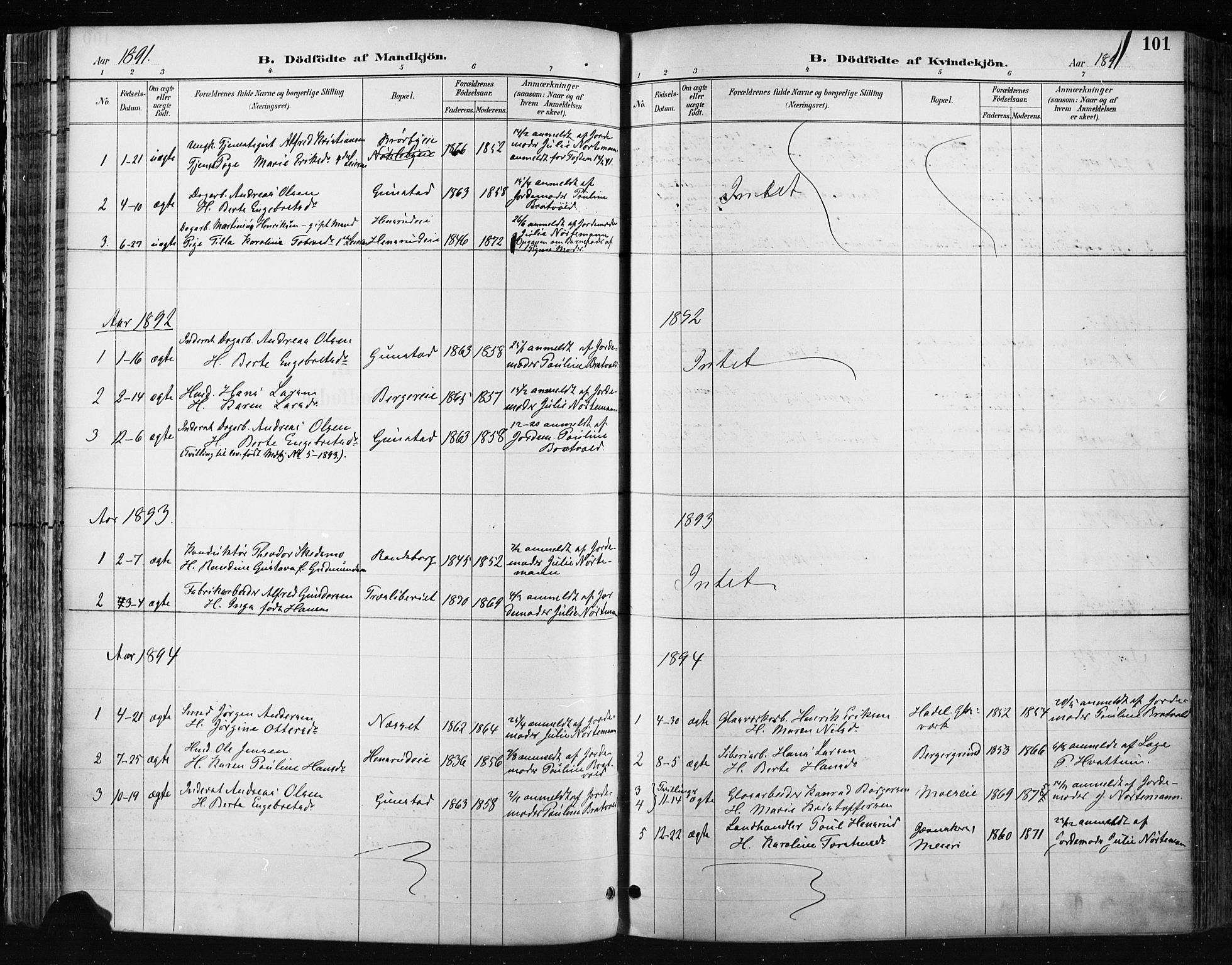 SAH, Jevnaker prestekontor, Ministerialbok nr. 9, 1891-1901, s. 101