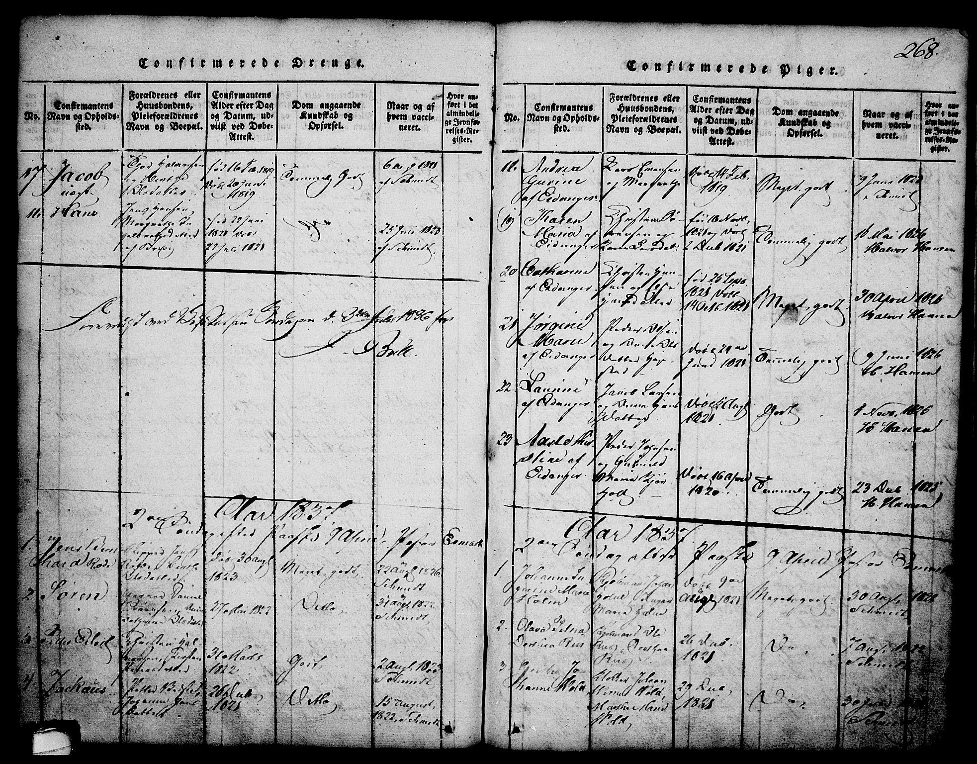 SAKO, Brevik kirkebøker, G/Ga/L0001: Klokkerbok nr. 1, 1814-1845, s. 268