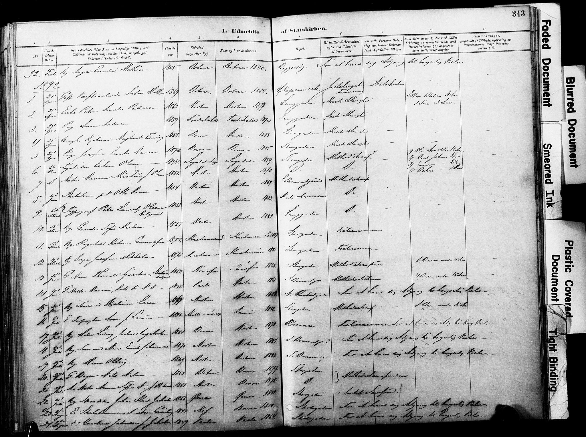 SAKO, Horten kirkebøker, F/Fa/L0004: Ministerialbok nr. 4, 1888-1895, s. 343