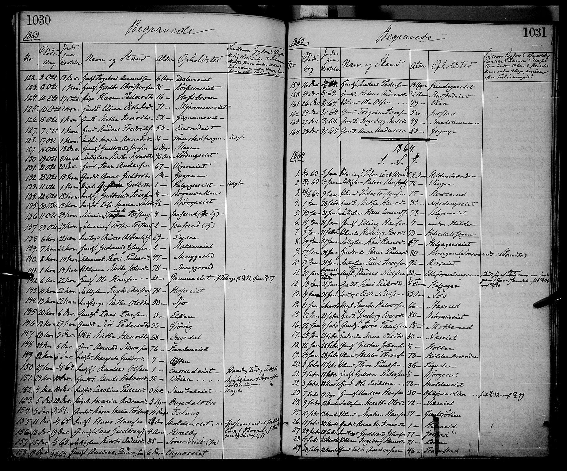 SAH, Gran prestekontor, Ministerialbok nr. 12, 1856-1874, s. 1030-1031