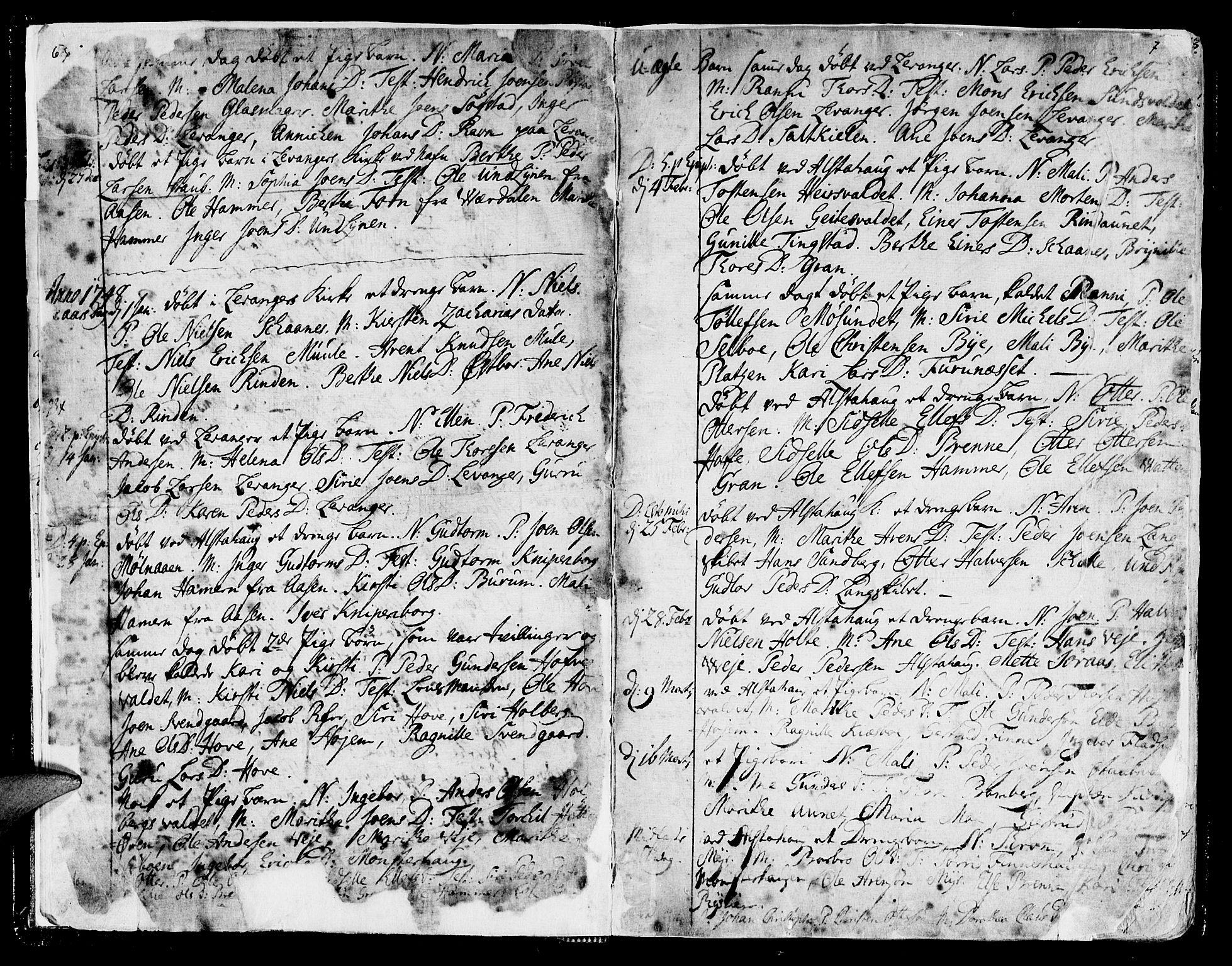 SAT, Ministerialprotokoller, klokkerbøker og fødselsregistre - Nord-Trøndelag, 717/L0141: Ministerialbok nr. 717A01, 1747-1803, s. 6-7