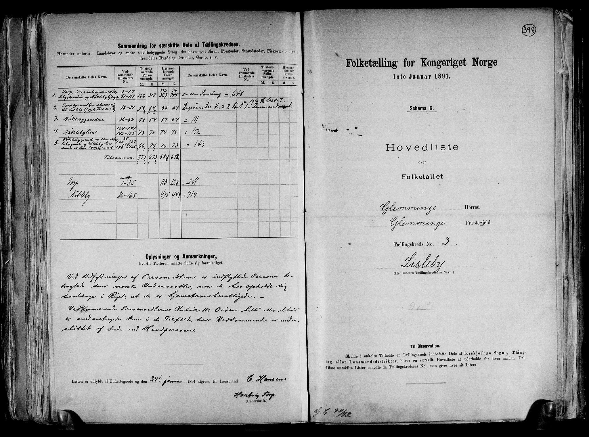 RA, Folketelling 1891 for 0132 Glemmen herred, 1891, s. 10
