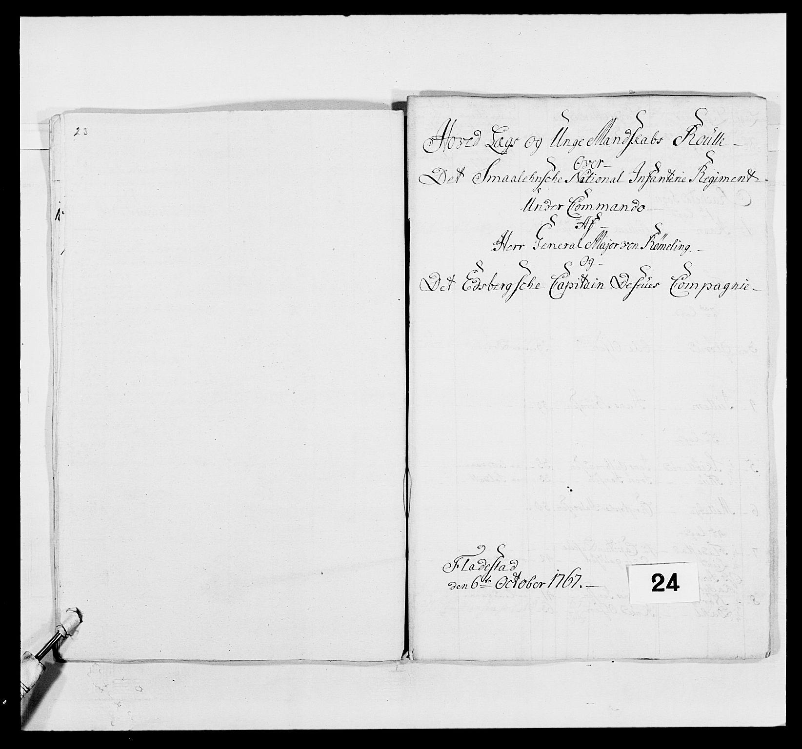 RA, Kommanderende general (KG I) med Det norske krigsdirektorium, E/Ea/L0496: 1. Smålenske regiment, 1765-1767, s. 431
