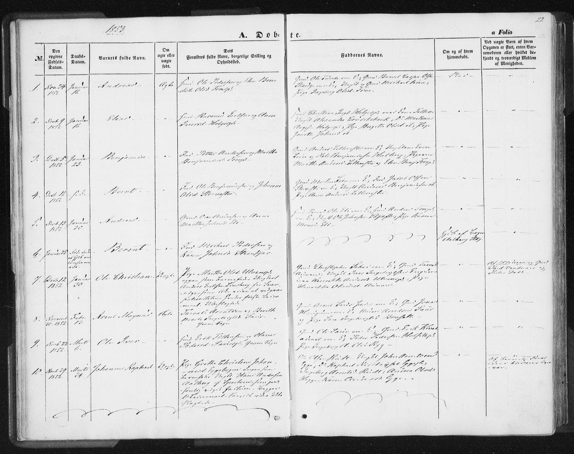 SAT, Ministerialprotokoller, klokkerbøker og fødselsregistre - Nord-Trøndelag, 746/L0446: Ministerialbok nr. 746A05, 1846-1859, s. 22
