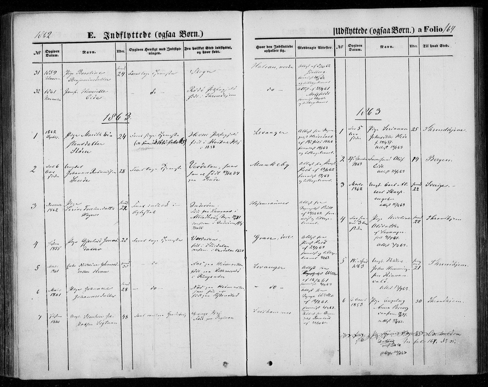 SAT, Ministerialprotokoller, klokkerbøker og fødselsregistre - Nord-Trøndelag, 720/L0184: Ministerialbok nr. 720A02 /1, 1855-1863, s. 164