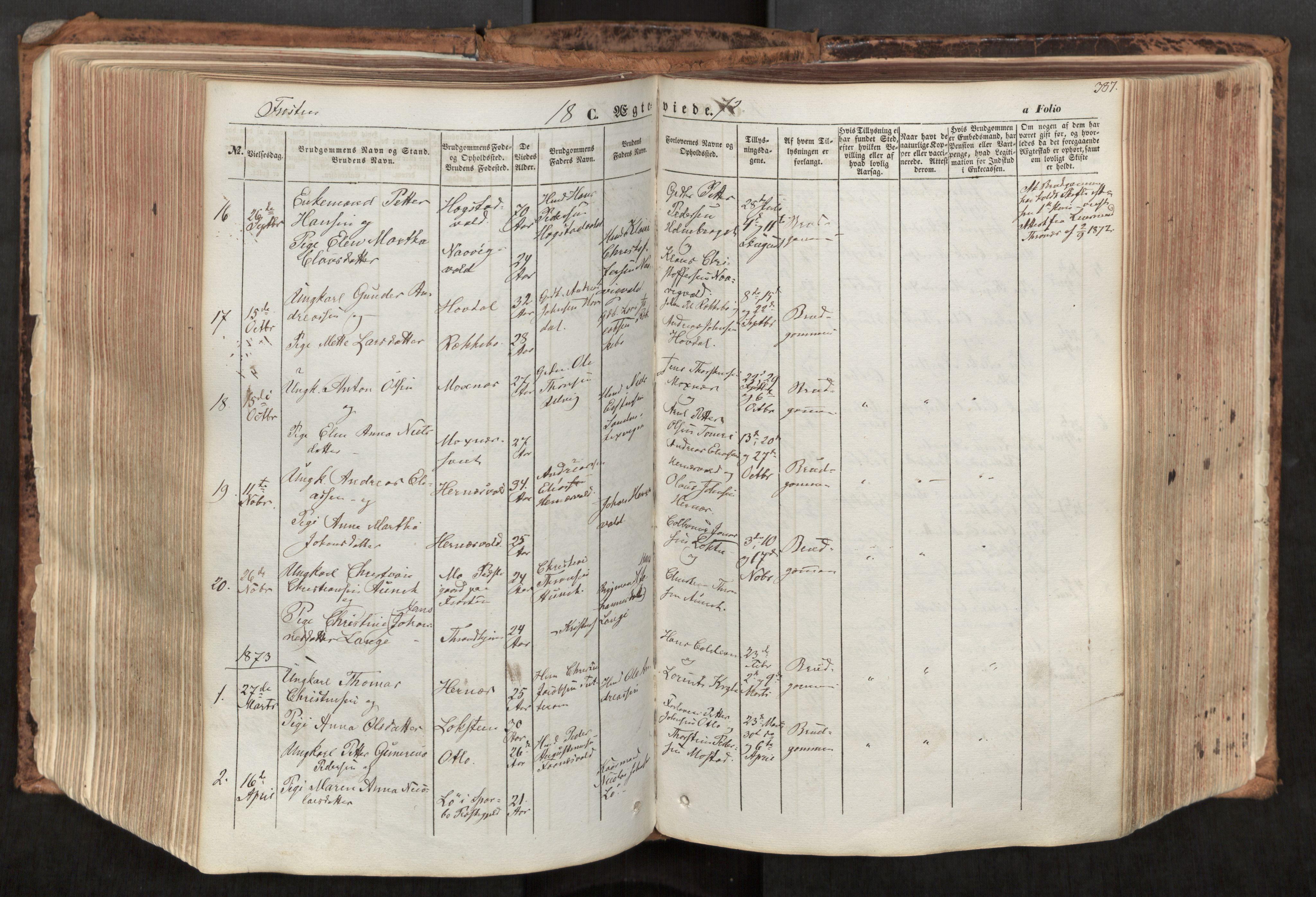 SAT, Ministerialprotokoller, klokkerbøker og fødselsregistre - Nord-Trøndelag, 713/L0116: Ministerialbok nr. 713A07, 1850-1877, s. 387