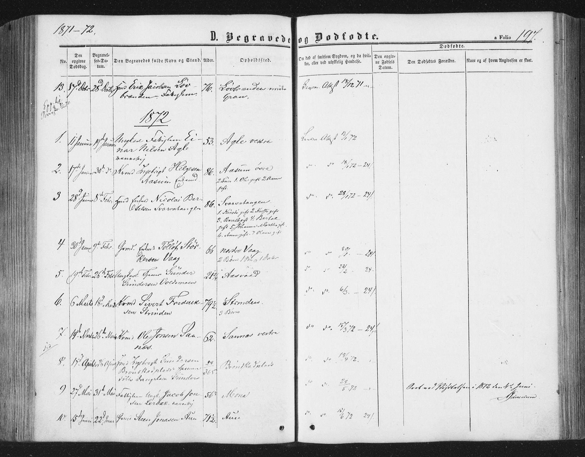 SAT, Ministerialprotokoller, klokkerbøker og fødselsregistre - Nord-Trøndelag, 749/L0472: Ministerialbok nr. 749A06, 1857-1873, s. 197