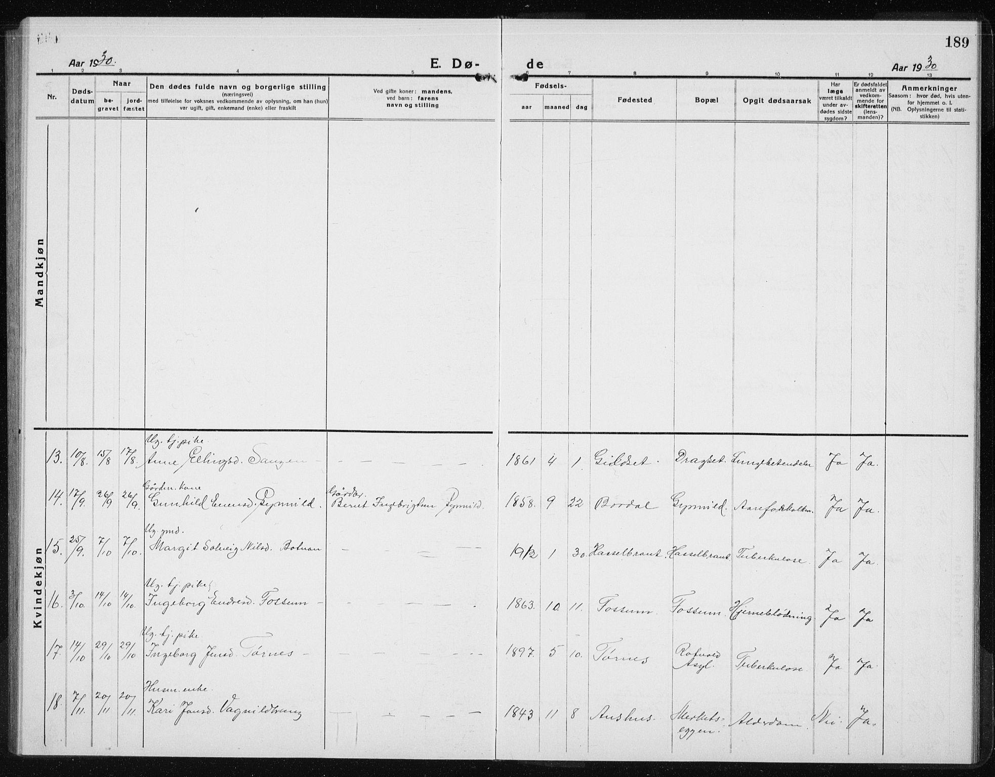 SAT, Ministerialprotokoller, klokkerbøker og fødselsregistre - Sør-Trøndelag, 689/L1045: Klokkerbok nr. 689C04, 1923-1940, s. 189